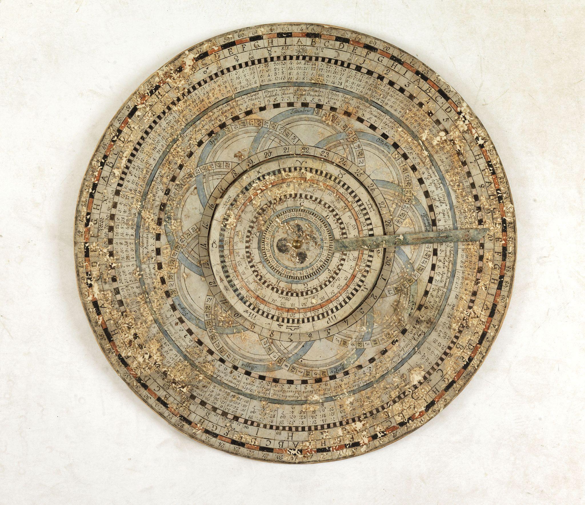 ANONYMOUS -CALENDAR  Circular luni-solar volvelle calendar of vellum