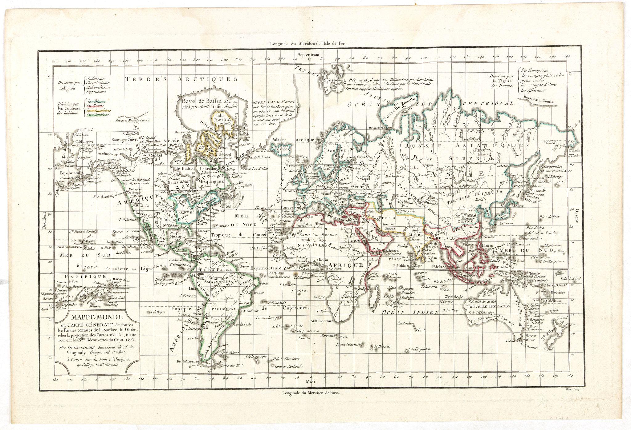 DELAMARCHE,C.F. -  Mappe-Monde ou Carte Generale de toutes les Parties connues..