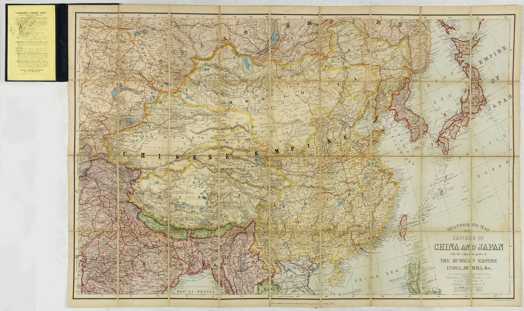 STANFORD, E. -  Standford's map of the empires of China and Japan with the adjacent parts of the Russian Empire, India, Burma &c.