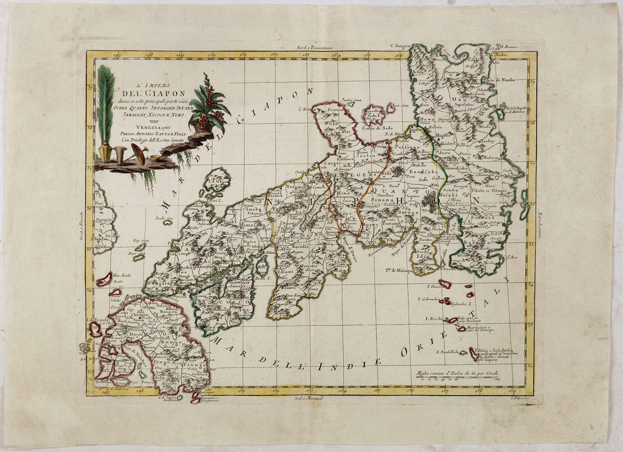 ZATTA, A. -  L'Impero del Giapon diviso in sette principali parti cive..