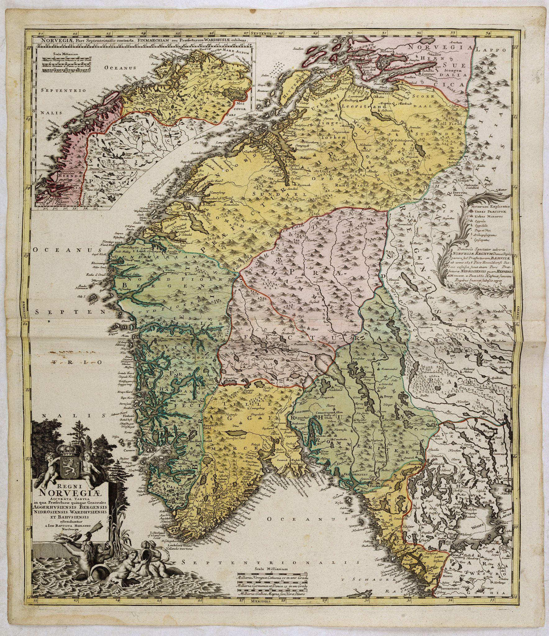 HOMANN, J.B. -  Norvegiae Accurata Tabula in qua Praefecturae quinque Generales. . .