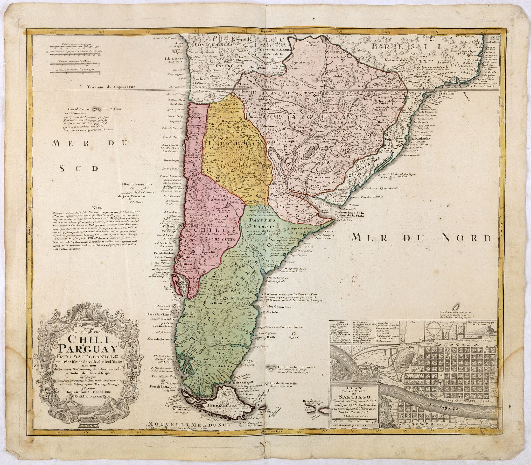 HOMANN HEIRS.,  Typus Geographicus Chili Paraguay Freti Magellanici &c., antique map, old maps