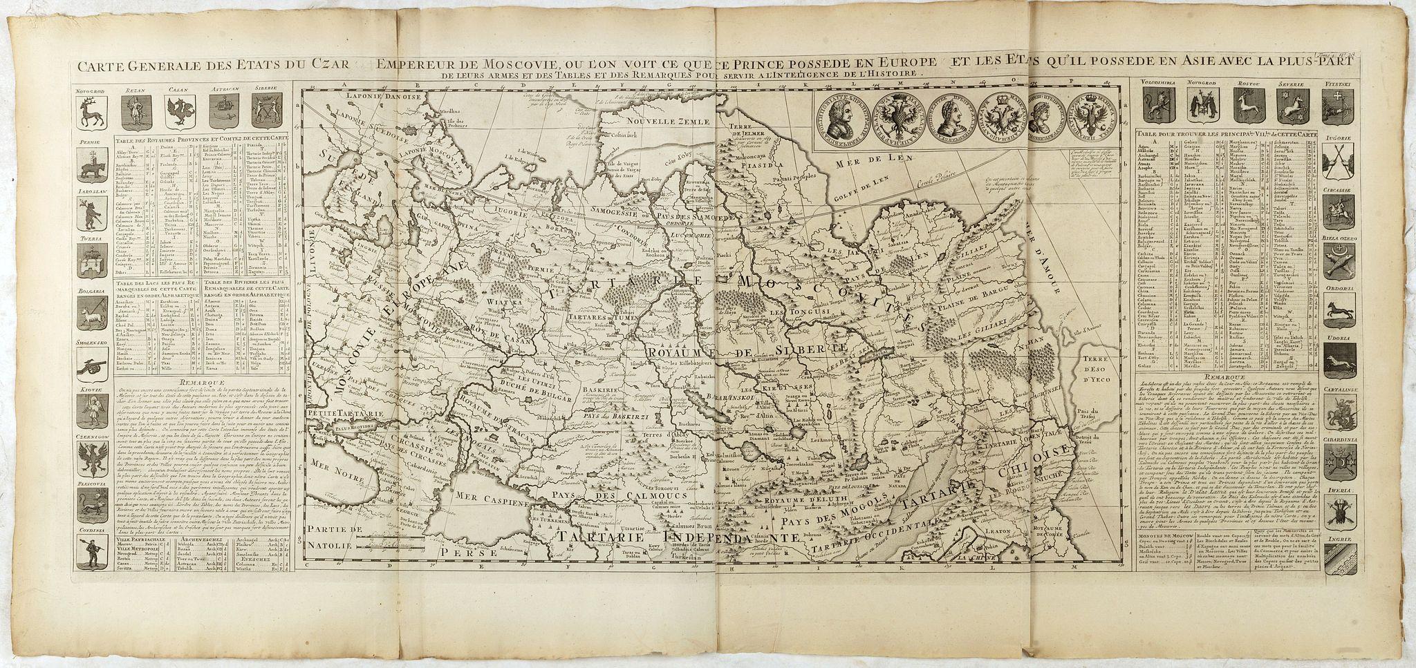 CHATELAIN, H. -  Carte générale des états du Czar Empereur de Moscovie ou l'on voit . . .