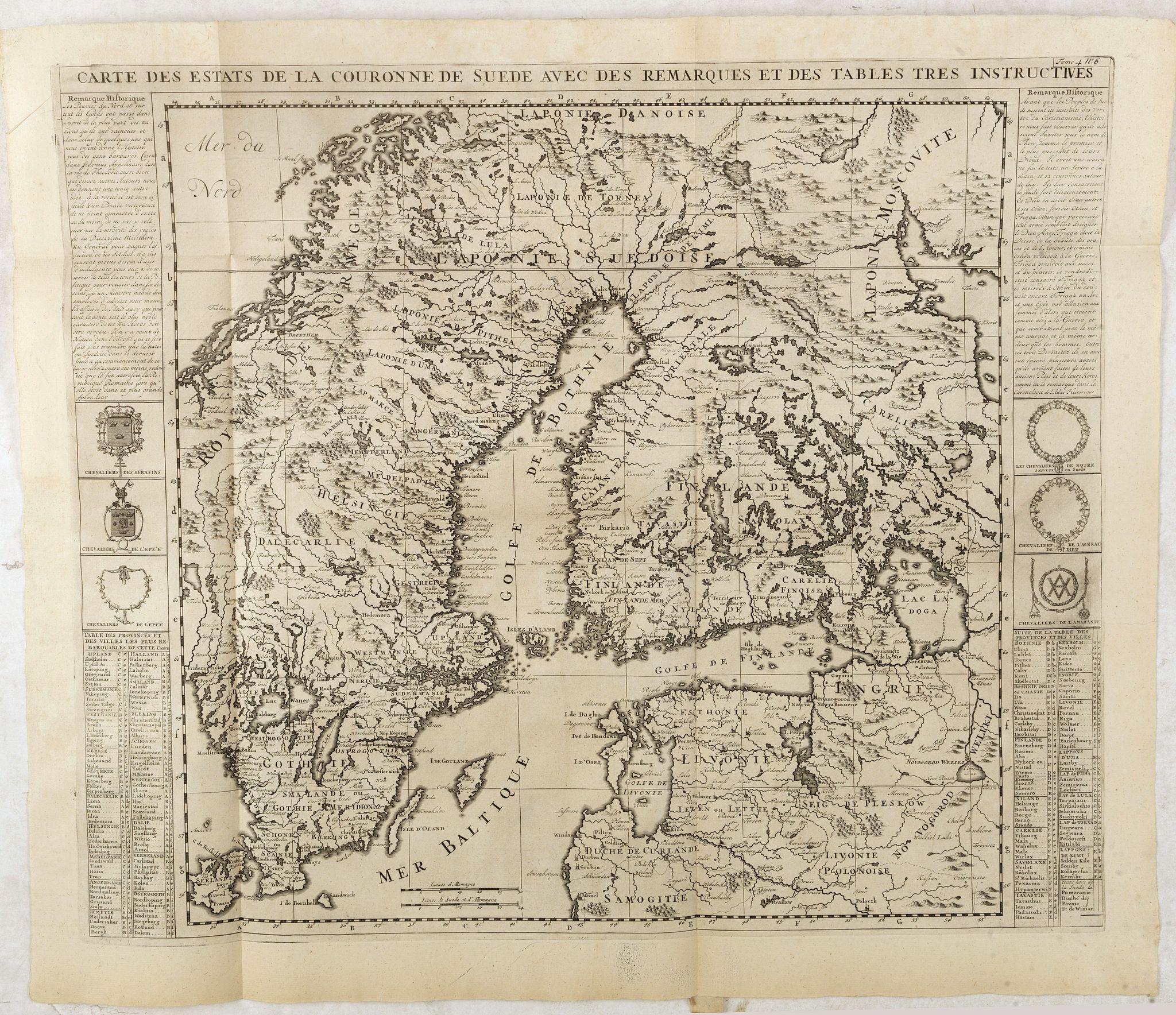 CHATELAIN, H. -  Carte des Estats de la Couronne de Suède avec des Remarques et des Tables Tres Instructives.