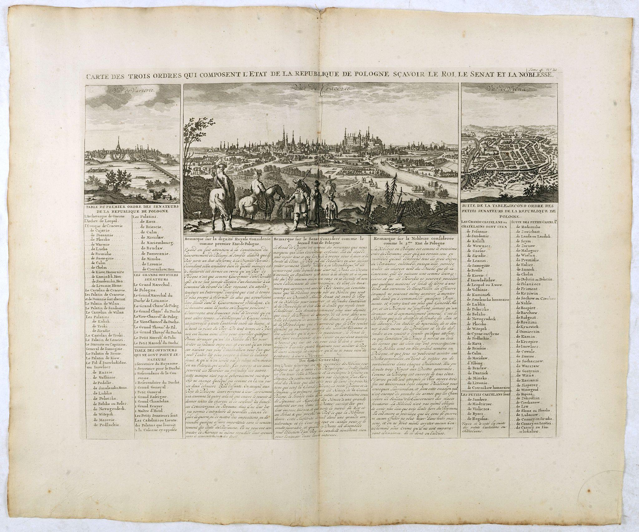 CHATELAIN, H. -  Carte Des Trois Ordres Qui Composent L'Etat De La Republique De Pologne…