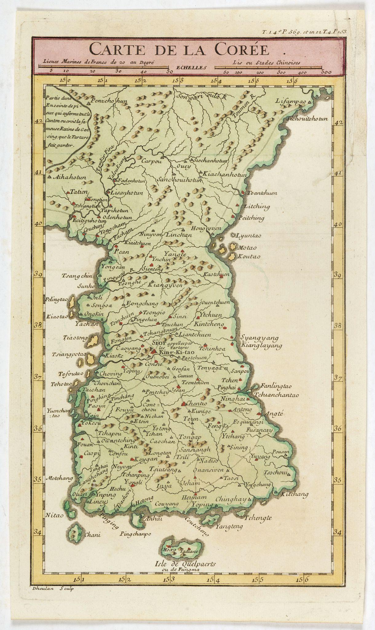 DHEULLAND, G. -  Carte de la Corée.