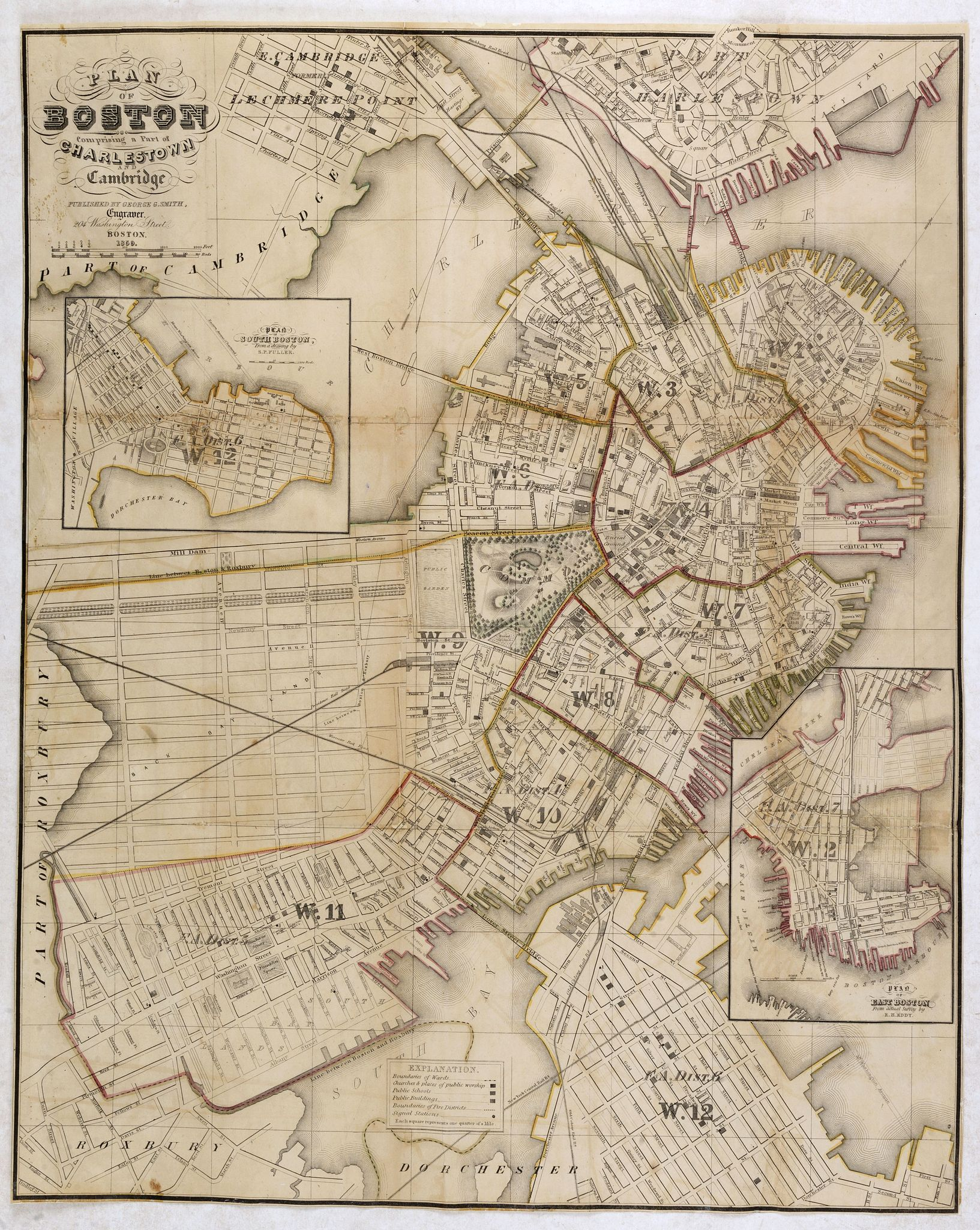 SMITH, George G. -  Plan Of Boston Comprising a Part of Charlestown and Cambridge. Published by George G. Smith, Engraver, Corner of Washington & Franklin Sts. Boston. 1846.