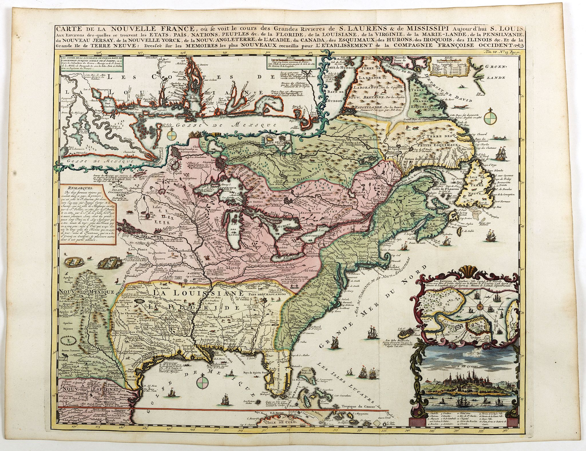 CHATELAIN,H. -  Carte de la Nouvelle France, ou se voi le cours..