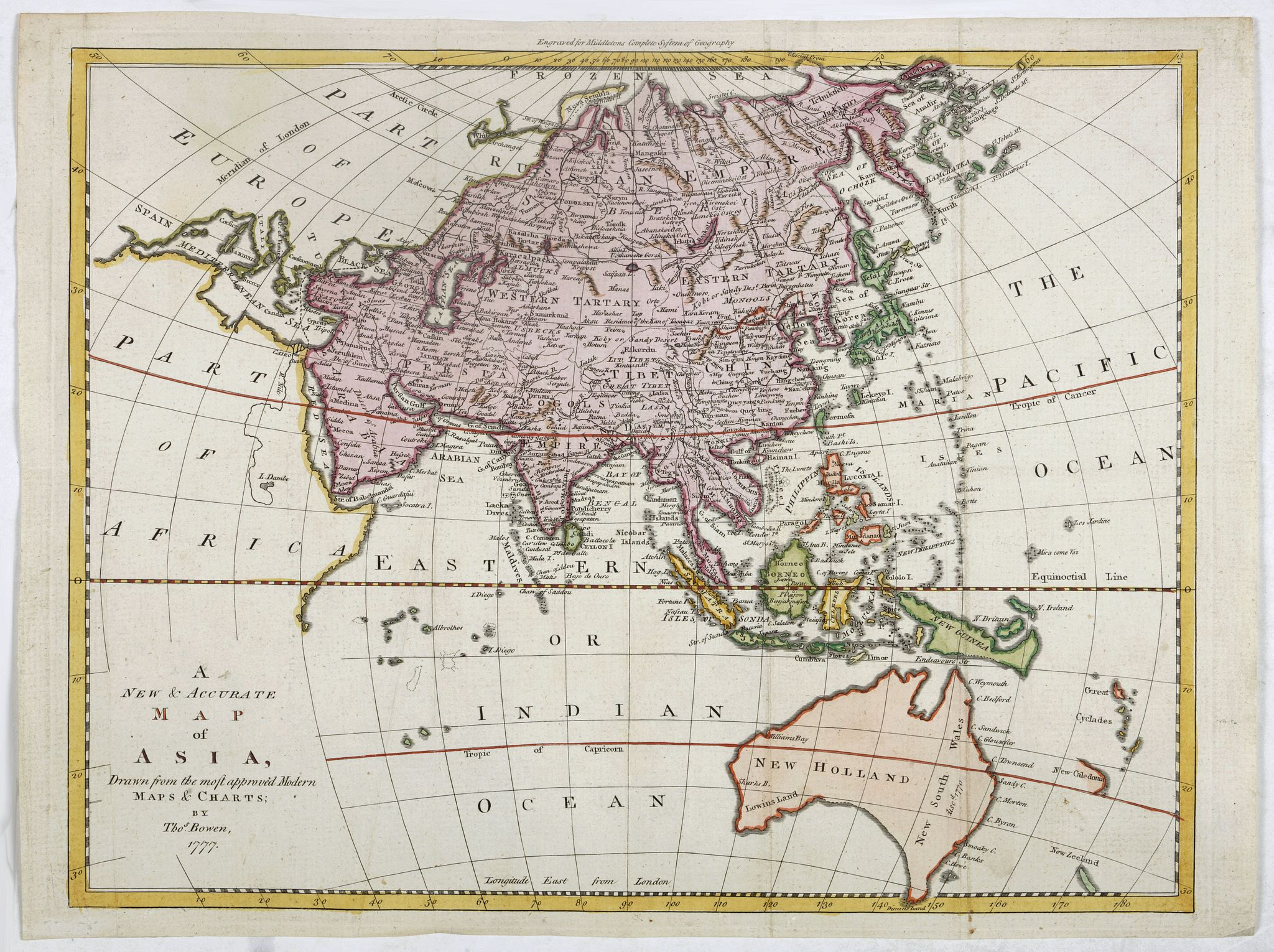 BOWEN, Th. -  A new & accurate map of Asia, Drawn from the most approved modern maps & charts.