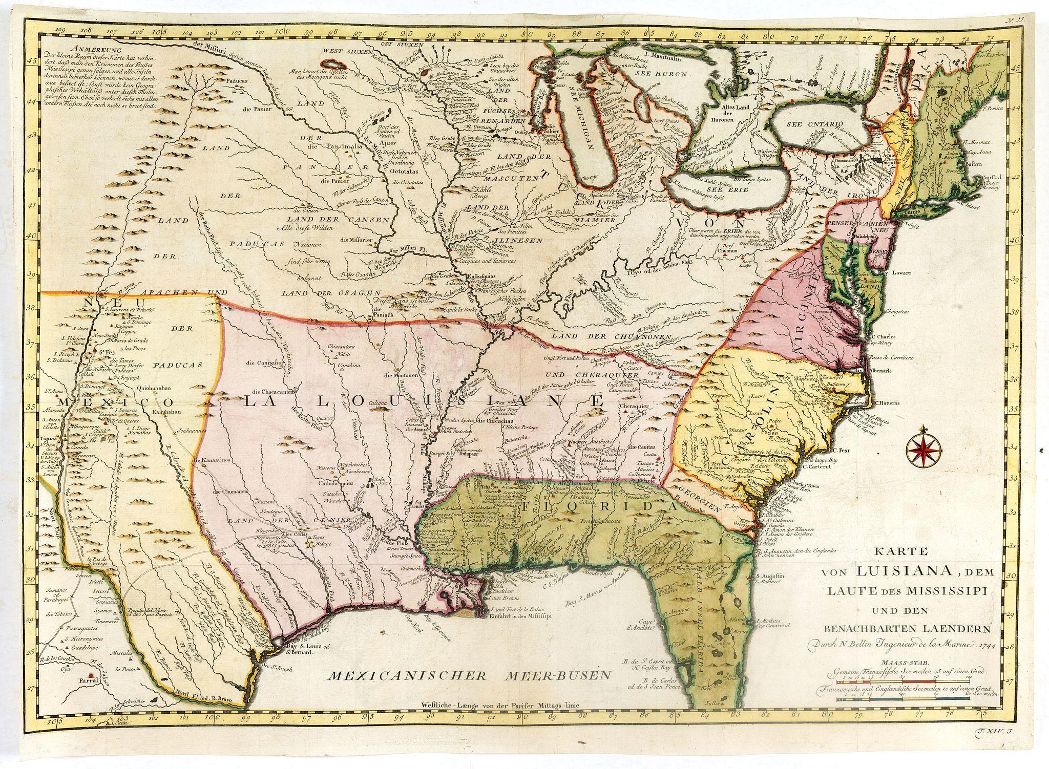 BELLIN, J.N. -  Karte von Luisiana, dem Laufe des Mississipi und den Benachbarten Laendern.