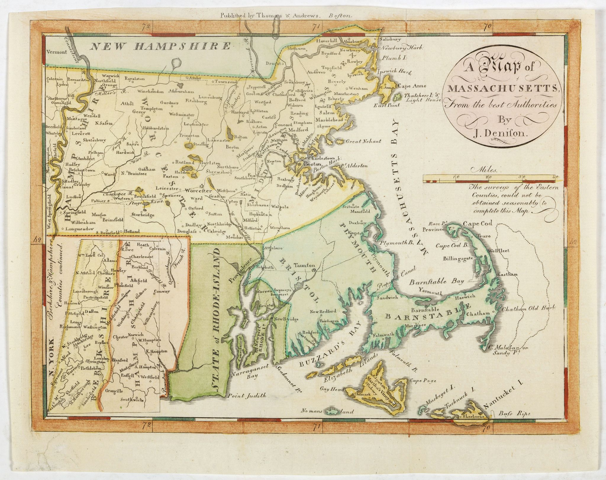 DENISON, J.,  A map of Massachusetts from the best Authorities by J.Denison., antique map, old maps