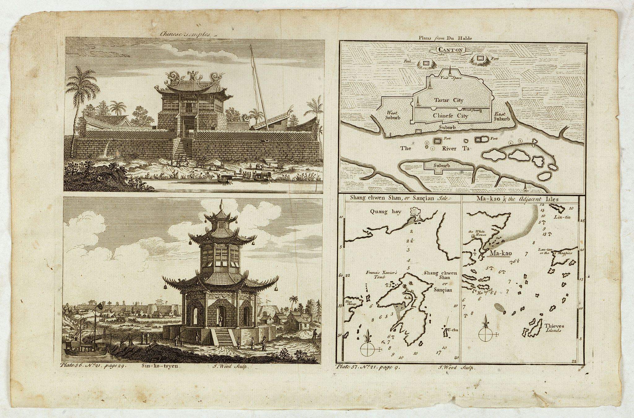 KITCHIN, Th.,  Chinese Temples. Sin-Ko-Tsyen. Canton, Sancian Isle. Ma-Kao., antique map, old maps