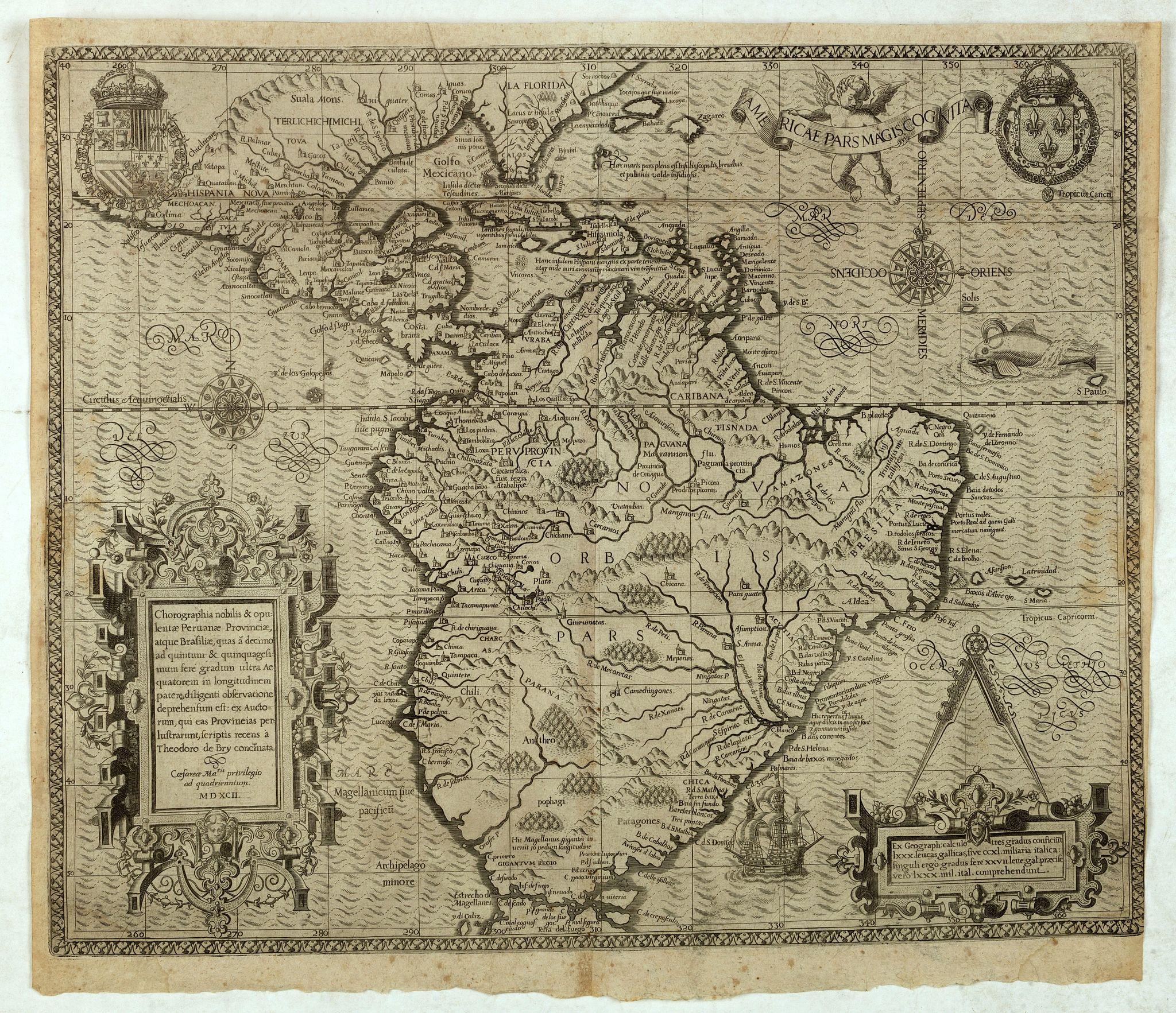 DE BRY, Th. -  Americae Pars Magis Cognita. Chorographia nobilis & opulentae Peruanae Provinciae, atque Brasiliae, . . . MDXCII