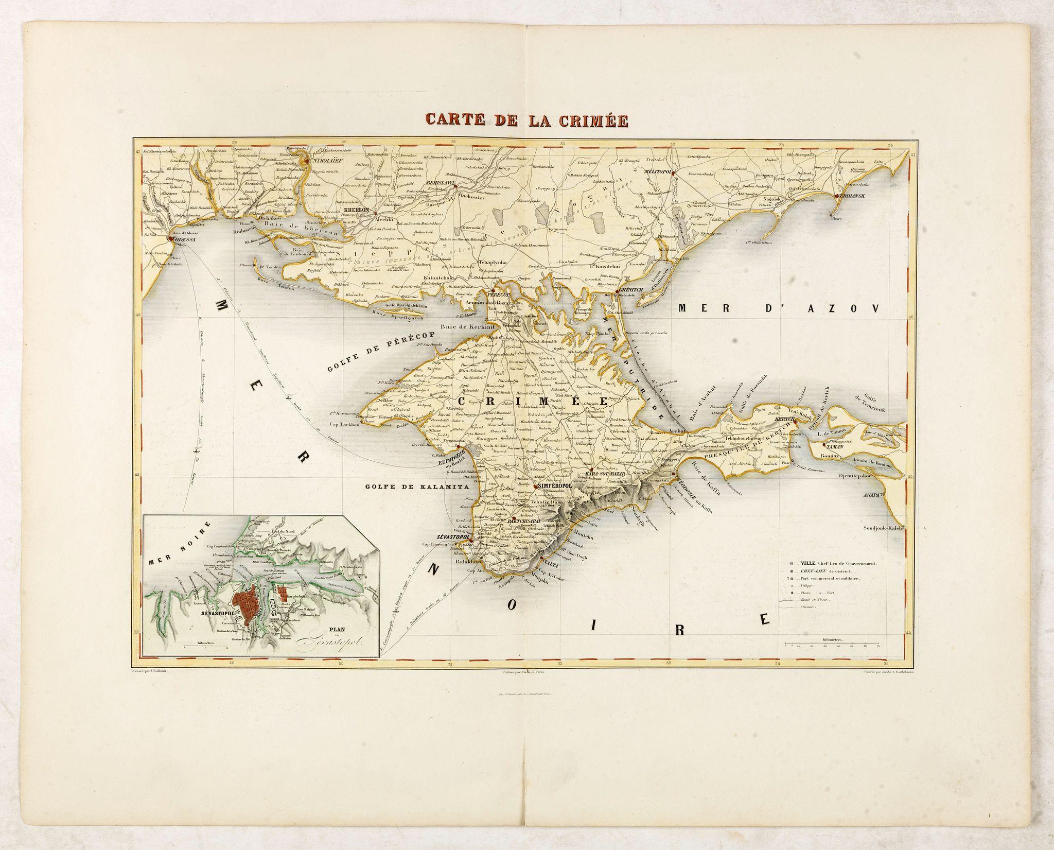 VUILLEMIN, A. -  Carte de la Crimée / dressée par A. Vuillemin.