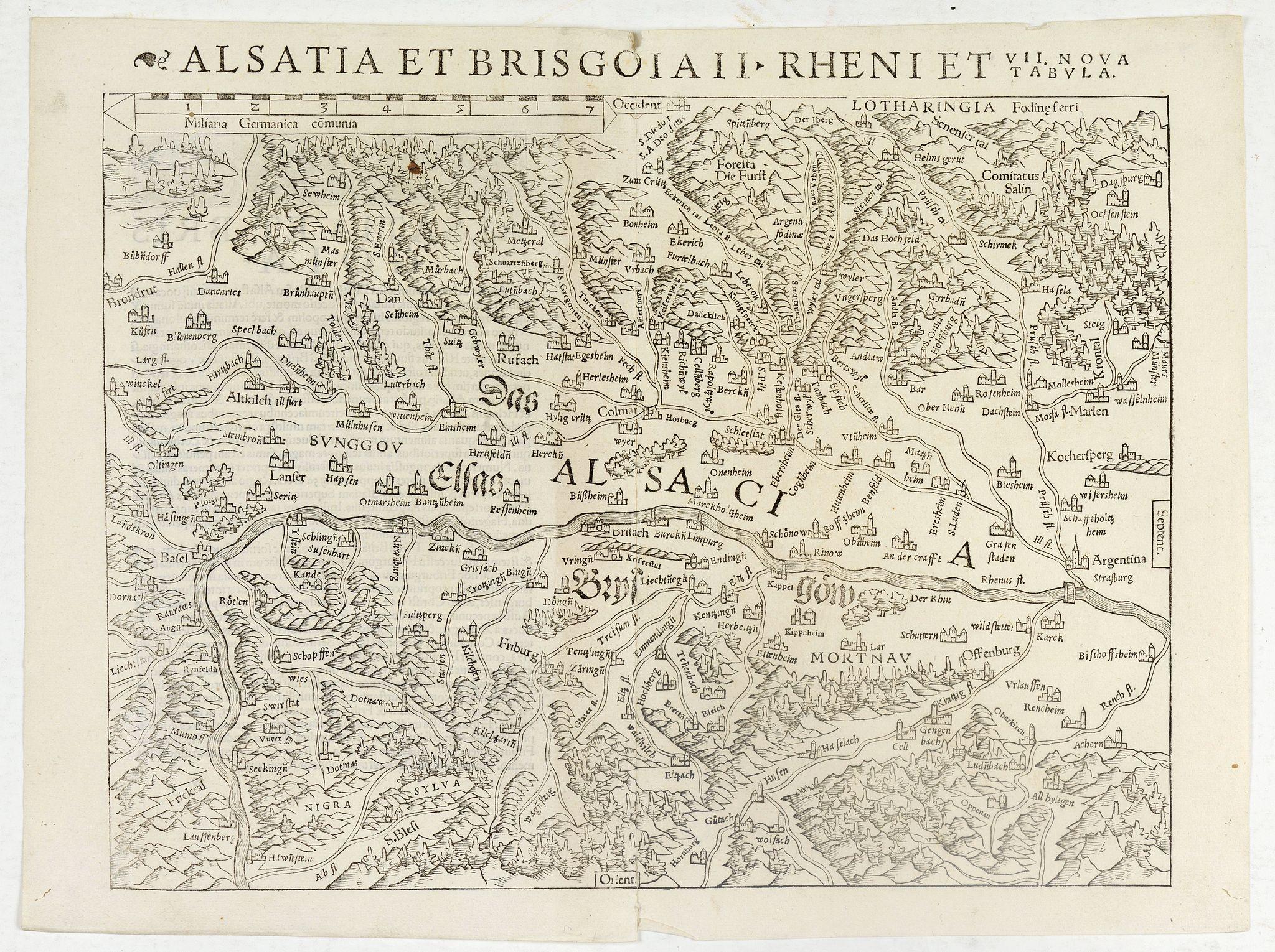 MÜNSTER, S. -  Alsatia et Brisgoia II Rheni Et VII Nova Tabula.