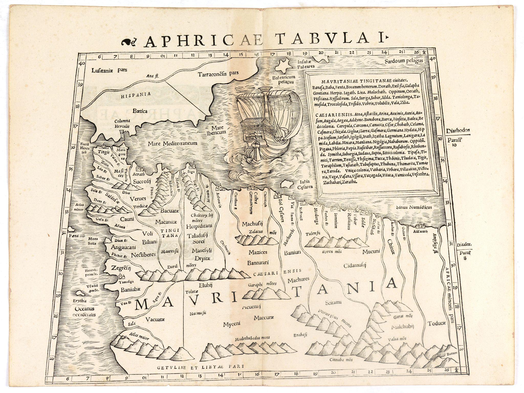 MÜNSTER, S. -  Aphricae Tabula I (Mauritania - present-day Morocco, Algeria, and Tunisia.)