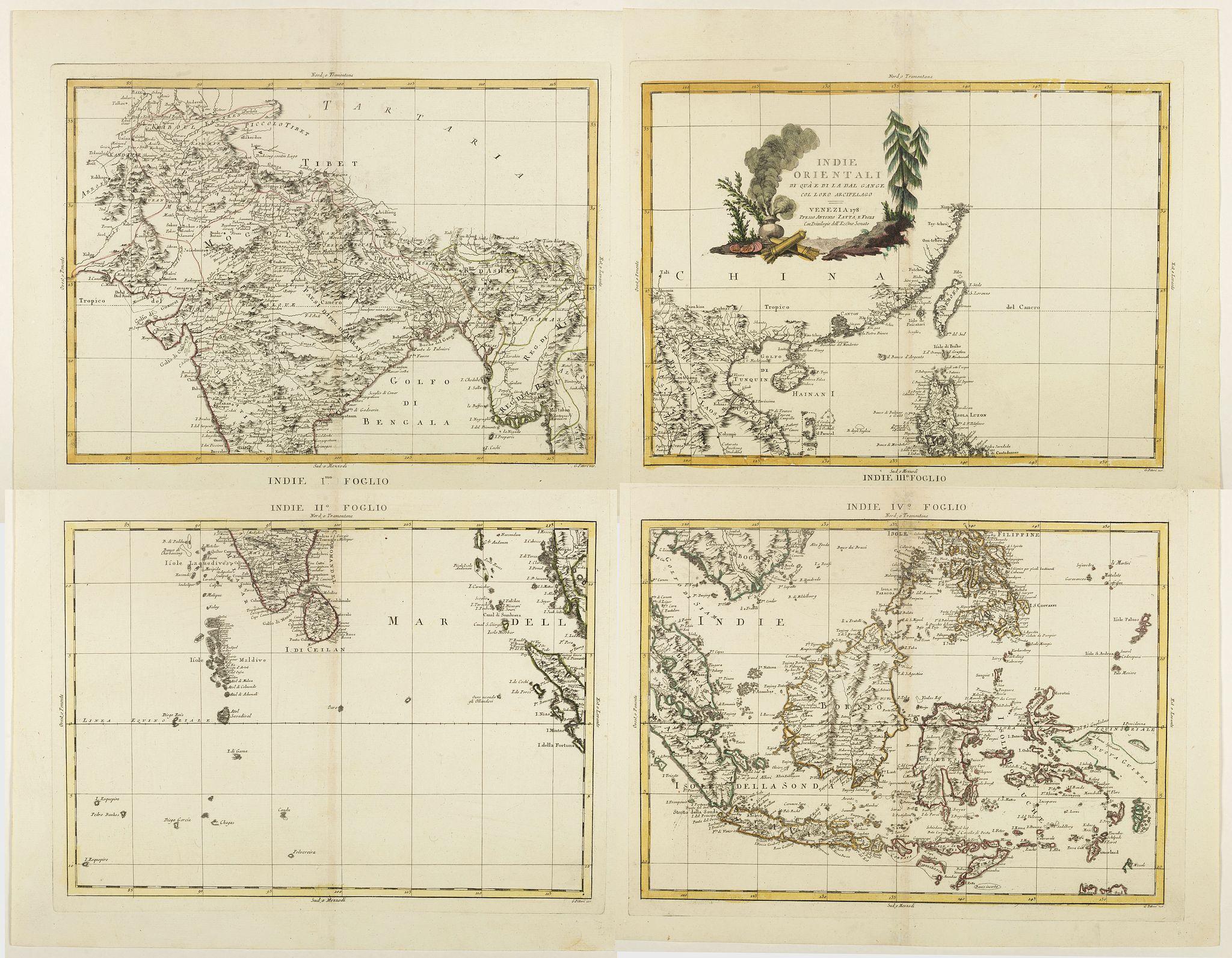 ZATTA, A. -  Indie Orientali di Quà e di la Dal Gange col Loro Arcipelago.
