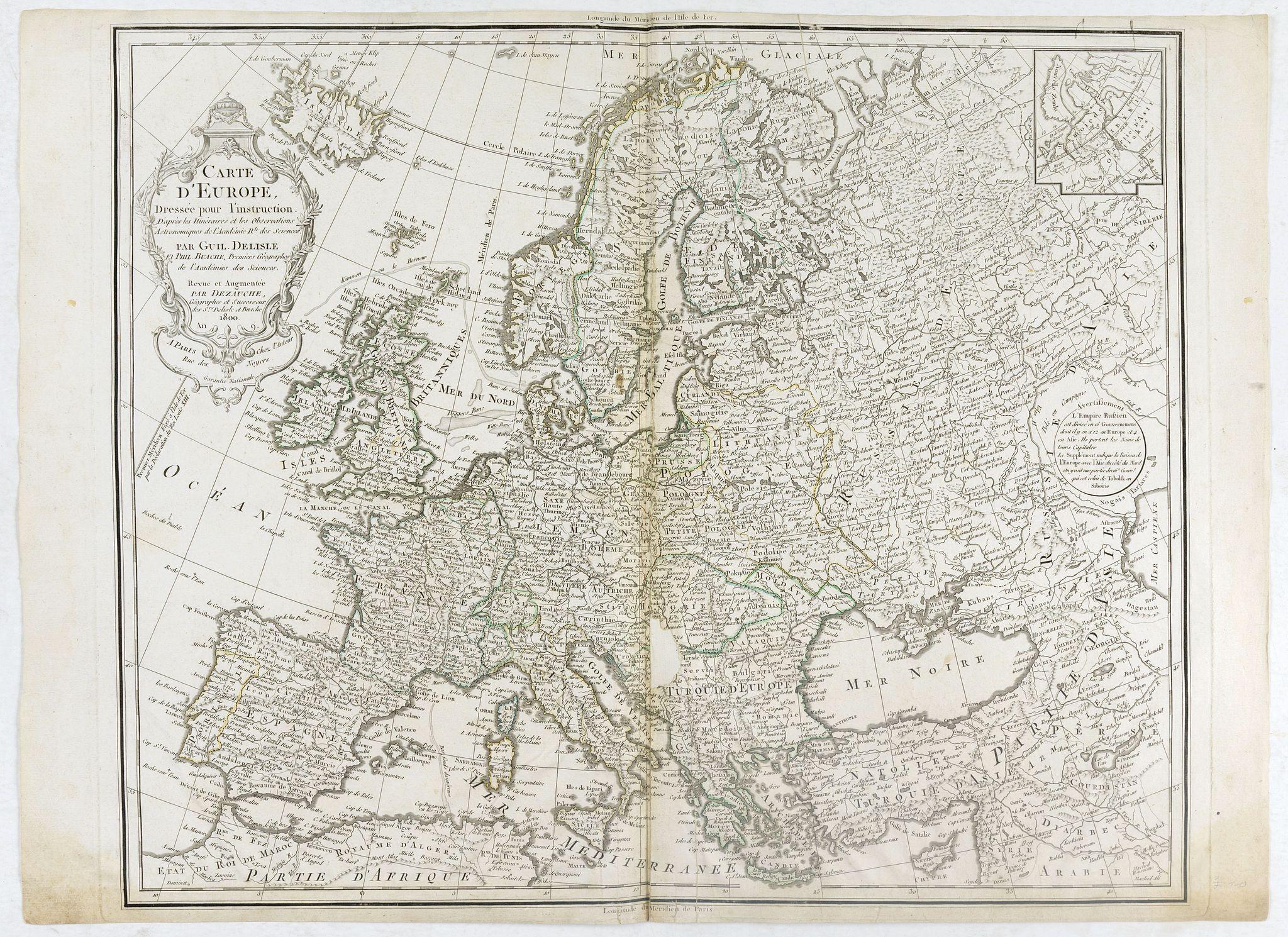 DELISLE, G ./ BUACHE, Ph. / DEZAUCHE, J. -  Carte de l'Europe Dressée pour l'Instruction . . .