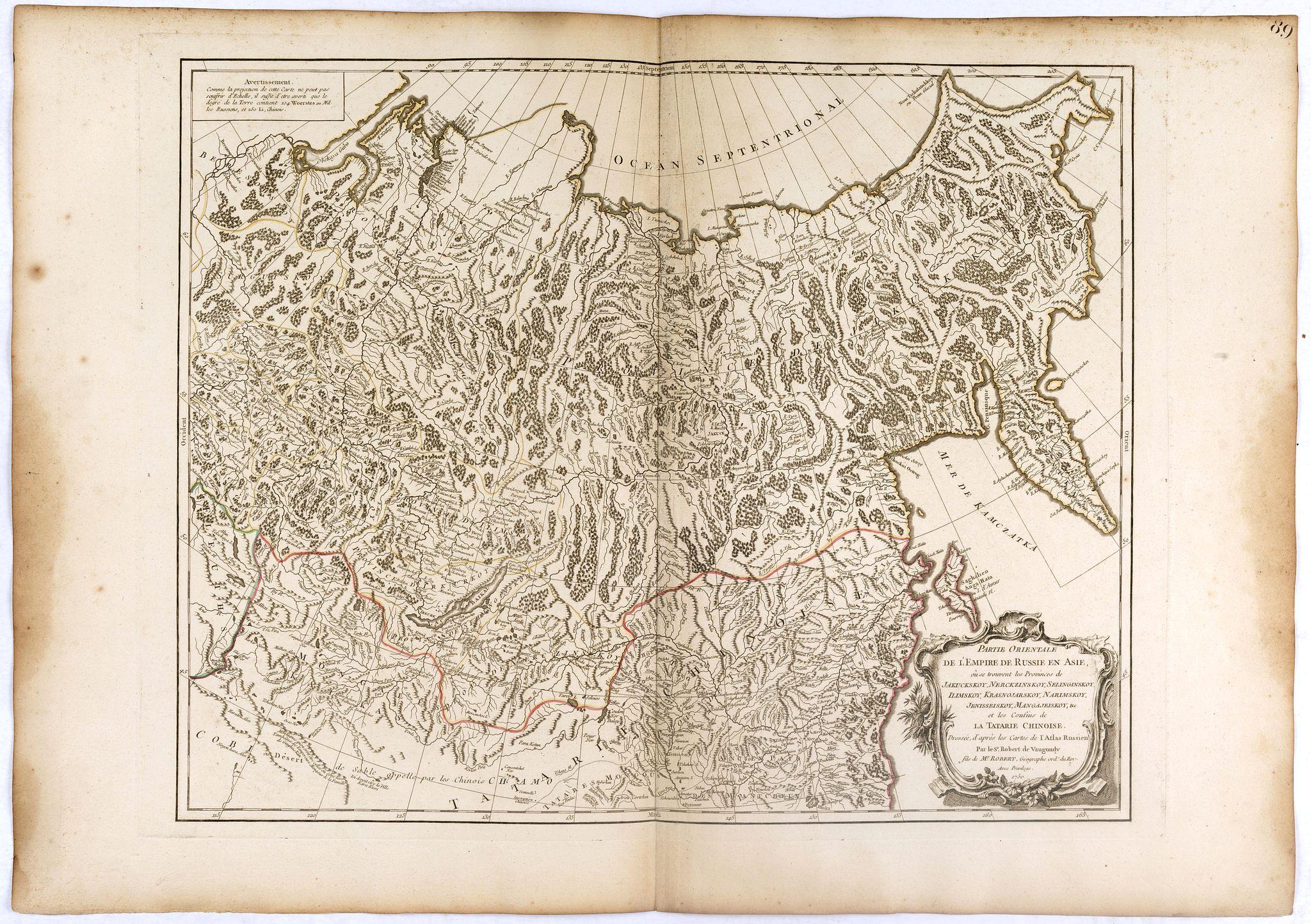 ROBERT DE VAUGONDY, G. -  Partie Orientale de l'Empire de Russie en Asie.. et les Confins de la Tatarie Chinoise. . .