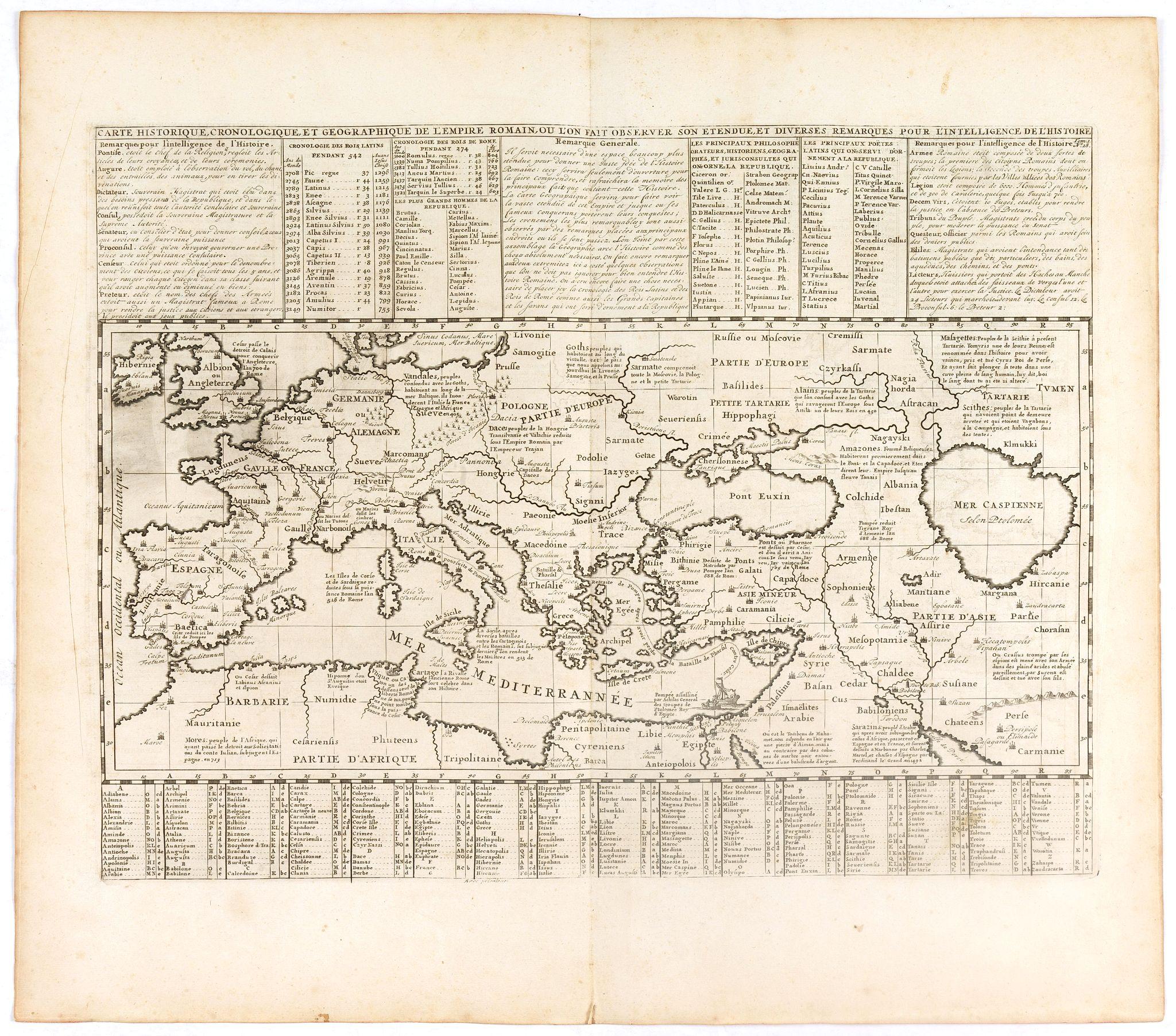 CHATELAIN, H. -  Carte historique chronologique et géographique de l'empire romain où l'on fait observer son étendue et diverses remarques pour l'intelligence de l'histoire.