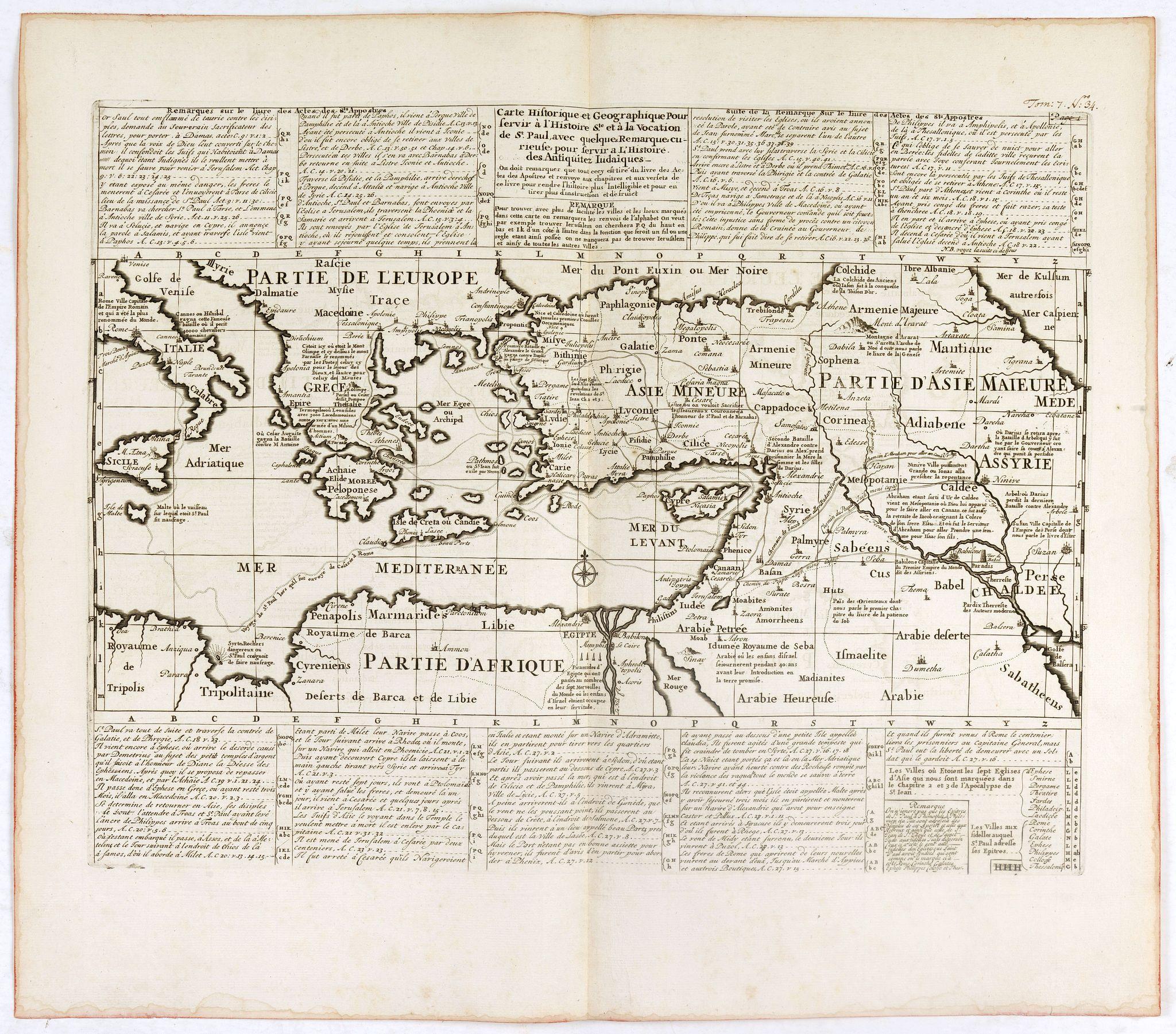 CHATELAIN, H. -  Carte historique et géographique pour servir à l'Histoire Sainte et à la Vocation de Saint Paul, avec quelques remarques curieuses pour servir à l'Histoire des Antiquités judaïques.