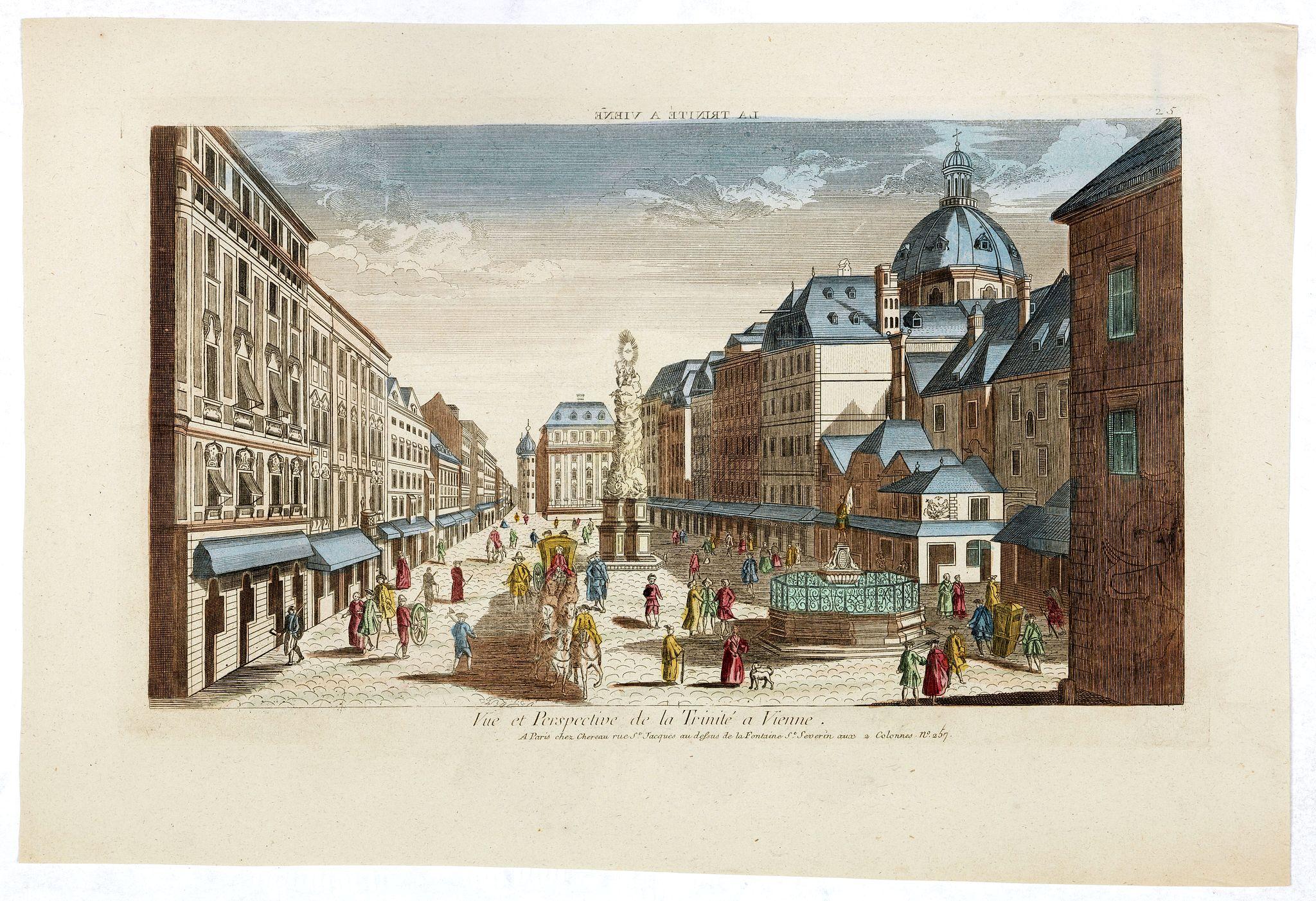 CHEREAU, J.F. -  Vue et Perspective de la Trinité a Vienne.