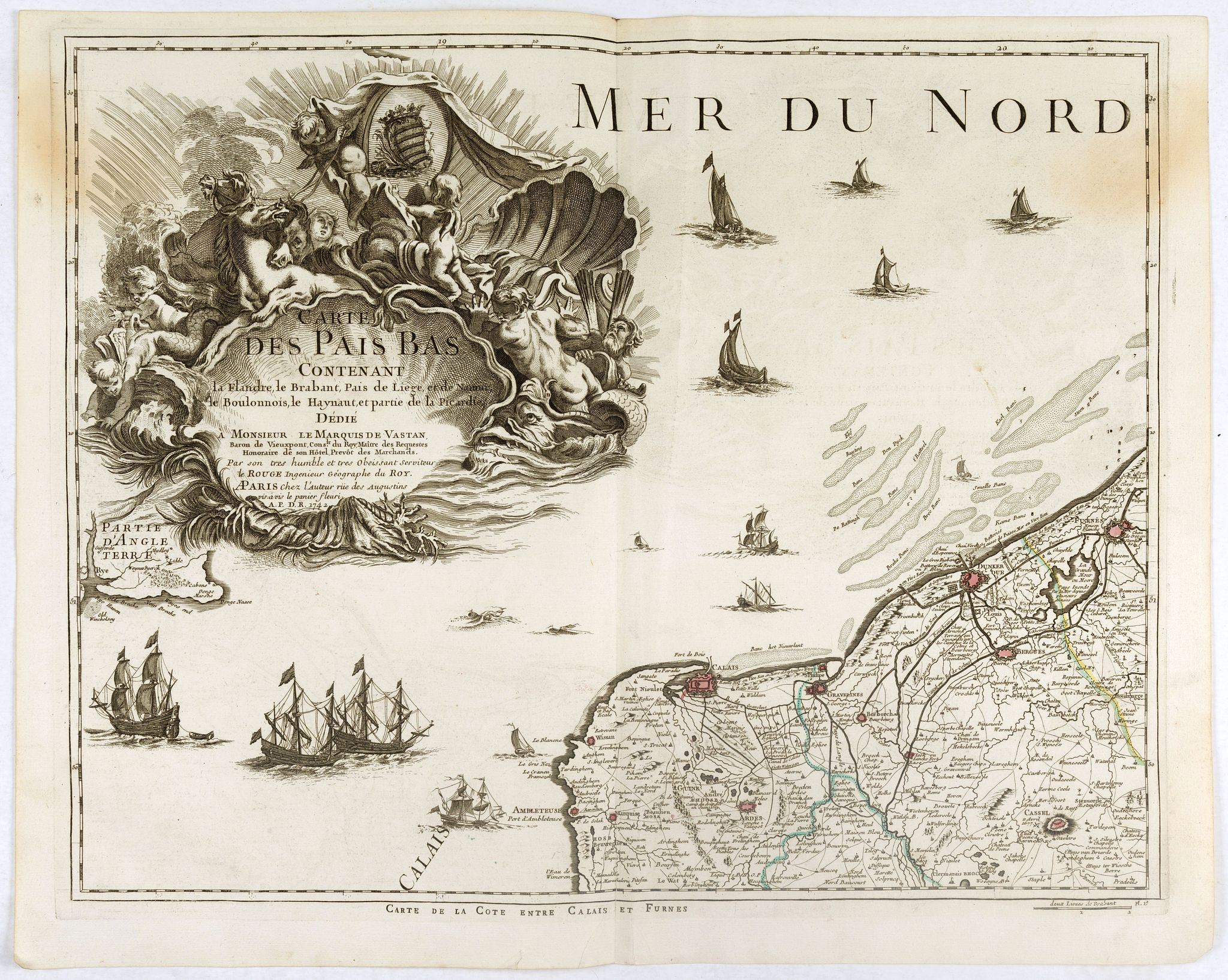 LE ROUGE, G.L. -  Carte des Pais Bas contenant la Flandre, le Brabant, Pais de Liege. . .