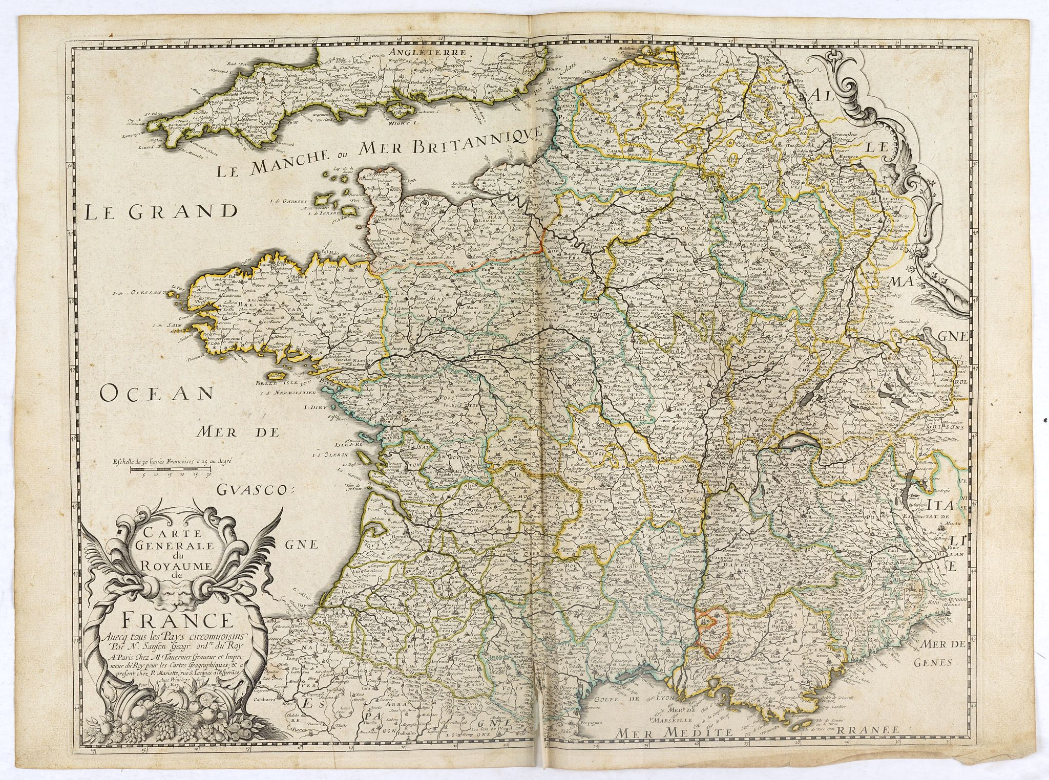 SANSON, N. / TAVERNIER, M. -  Carte Generale du Royaume de France . . .