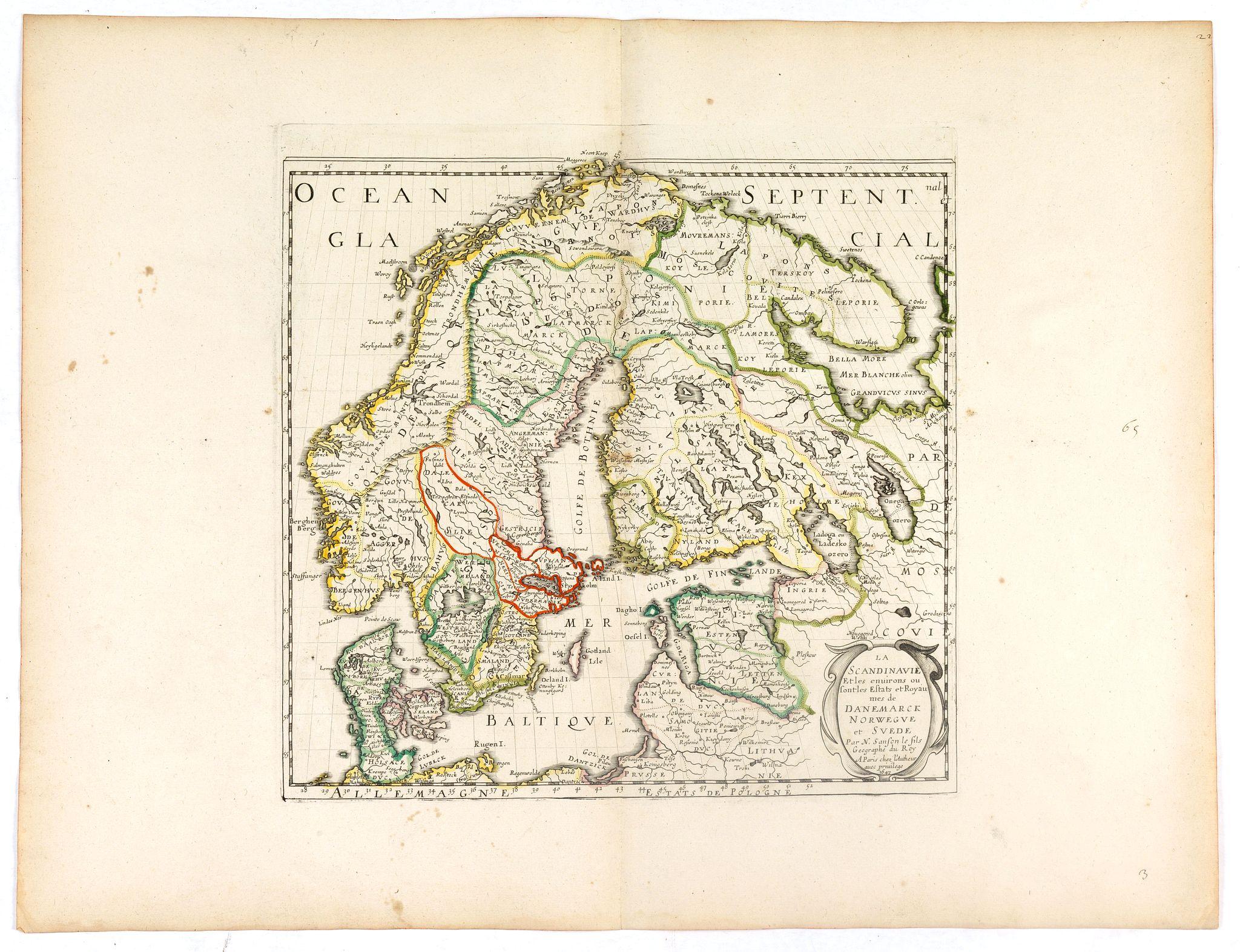 SANSON, N. / MARIETTE, P. -  La Scandinavie et les environs ou sont les royaumes de Suede, de Danemarck et de Norwege, divisés en leurs principales provinces  par le Sr. Sanson.