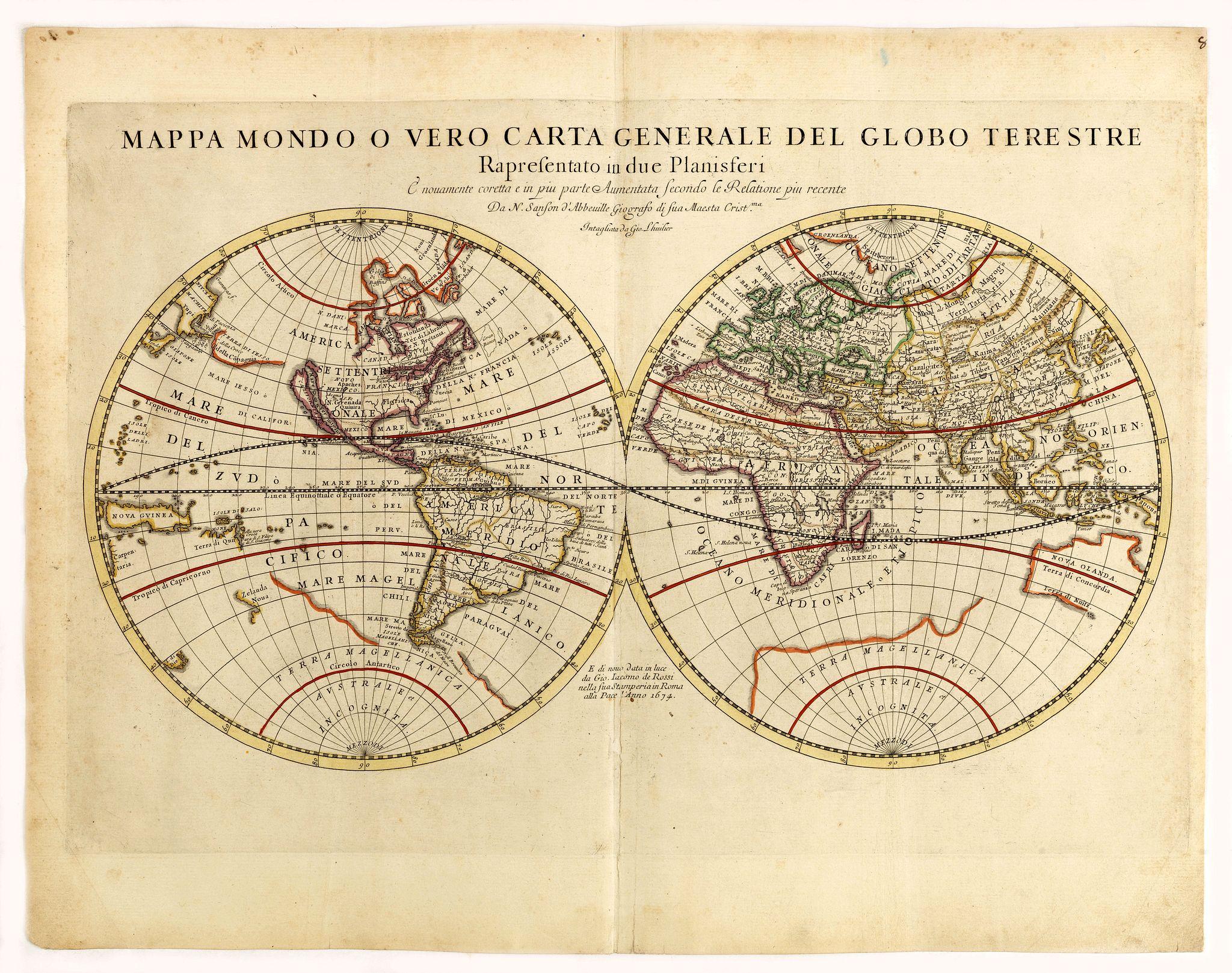 DE ROSSI, G. -  Mappa mondo o vero carta generale del globo terestre…