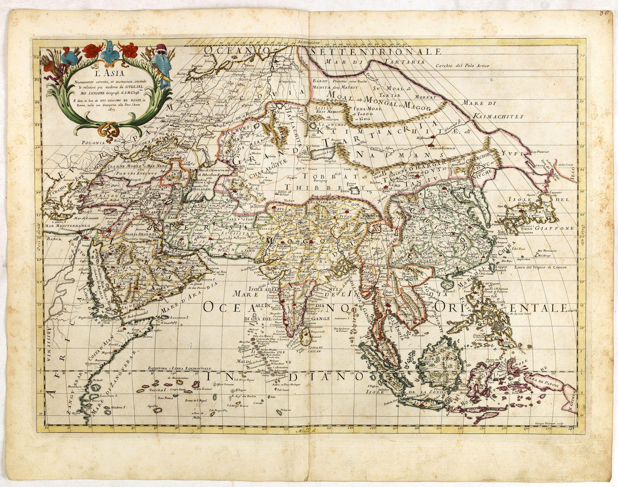 DE ROSSI, G. -  L'Asia Nuovamente corretta et accresciuta, secondo le relationi piu moderne da Guglielmo Sansone . . . 1677