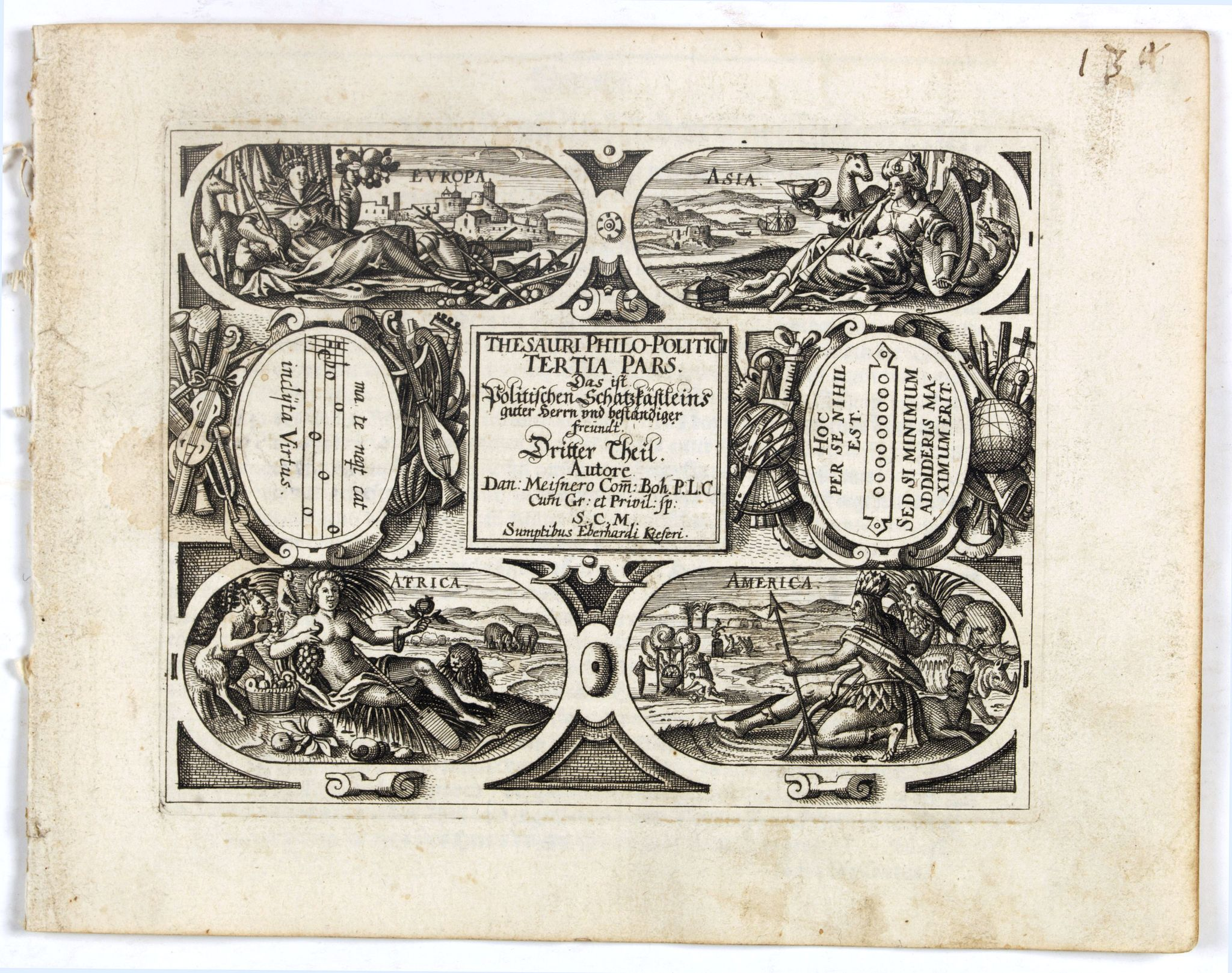MEISNER, D. -  [Title page] Thesauri Philo Polithi Tertia pars..