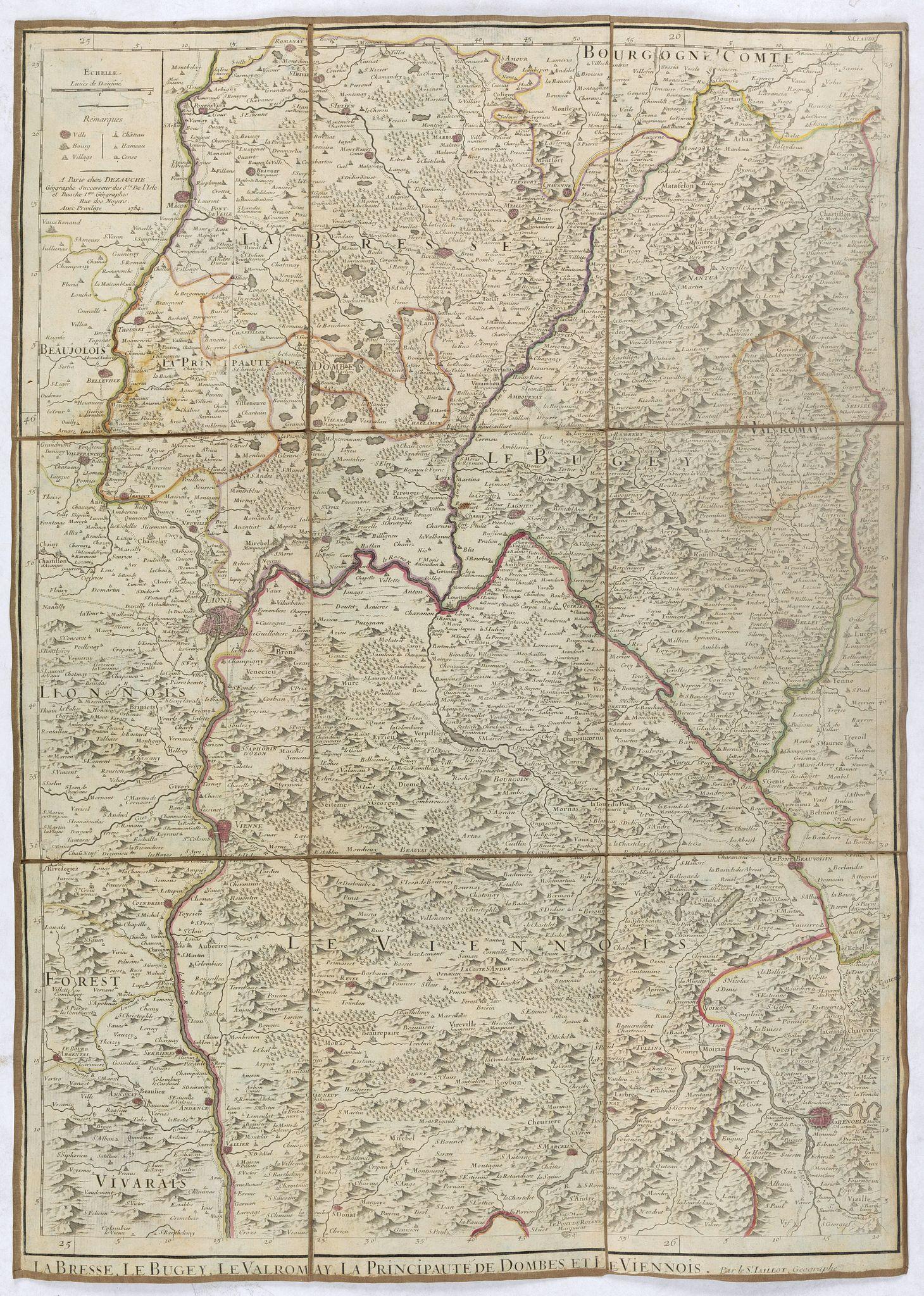 JAILLOT, A.H. / DEZAUCHE -  La Bresse, le buge-y, le Valromay, la Proncipauté de Dombes, et le Viennois.