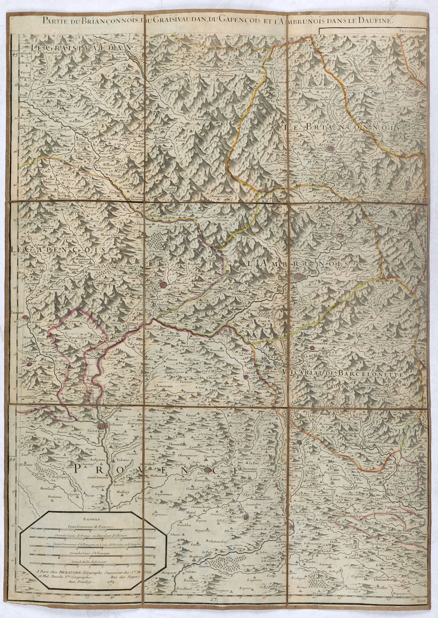 JAILLOT, A-H. / LISLE, G. de / DEZAUCHE -  Partie du Briançonnois, du Graisivaudan, du Gapençois et de l