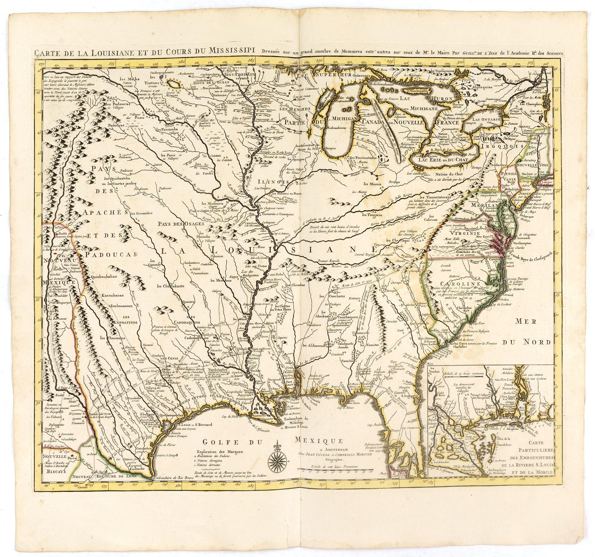 COVENS, J. / MORTIER, C. -  Carte de la Louisiane et du Cours du Mississipi Dressée sur un grand nombre de Memoires..