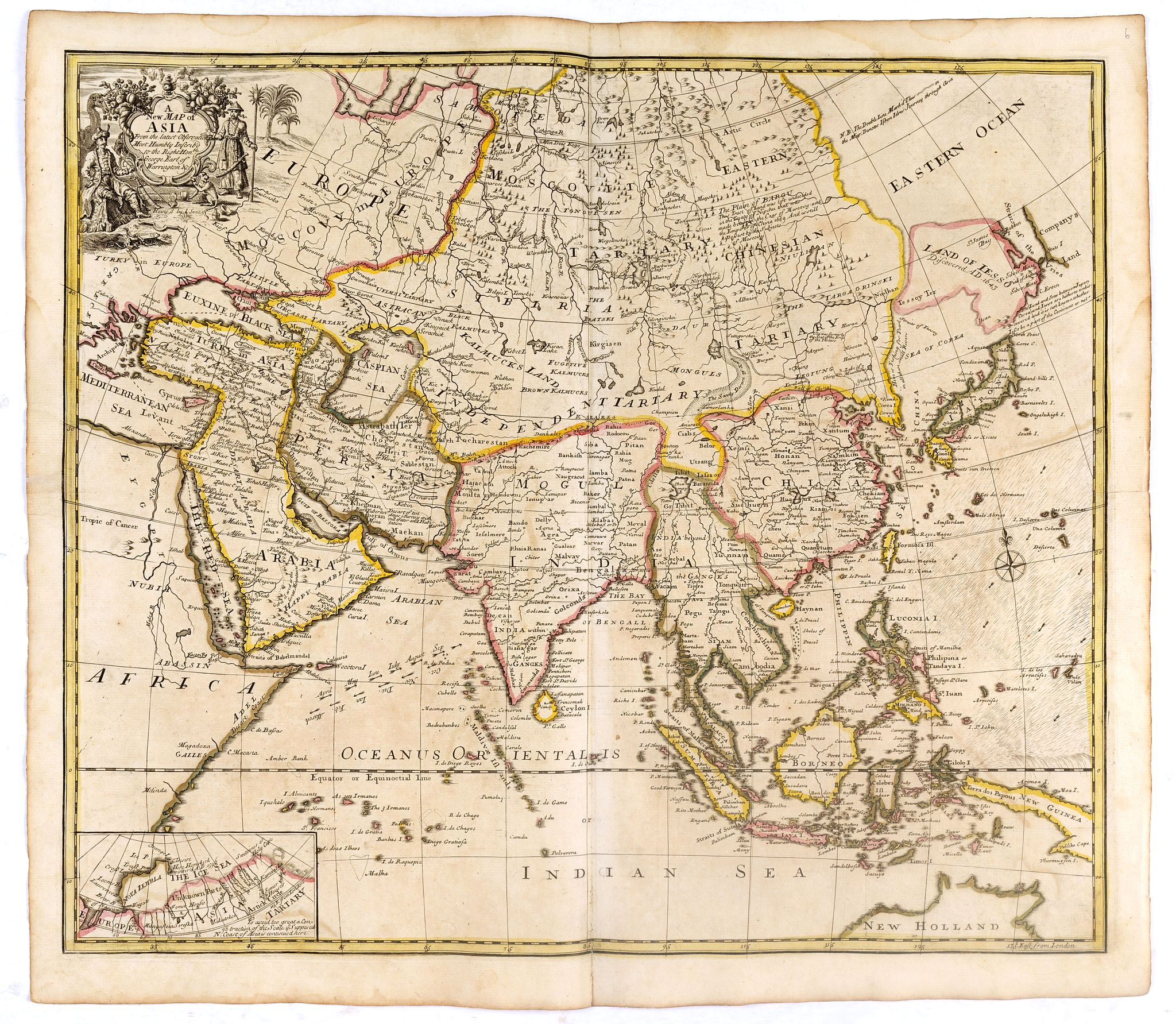 SENEX, J. -  A New Map of Asia from the latest Observations Most Humbly Inscrib'd to the Right Honbl. George Earl of Warrington &c.