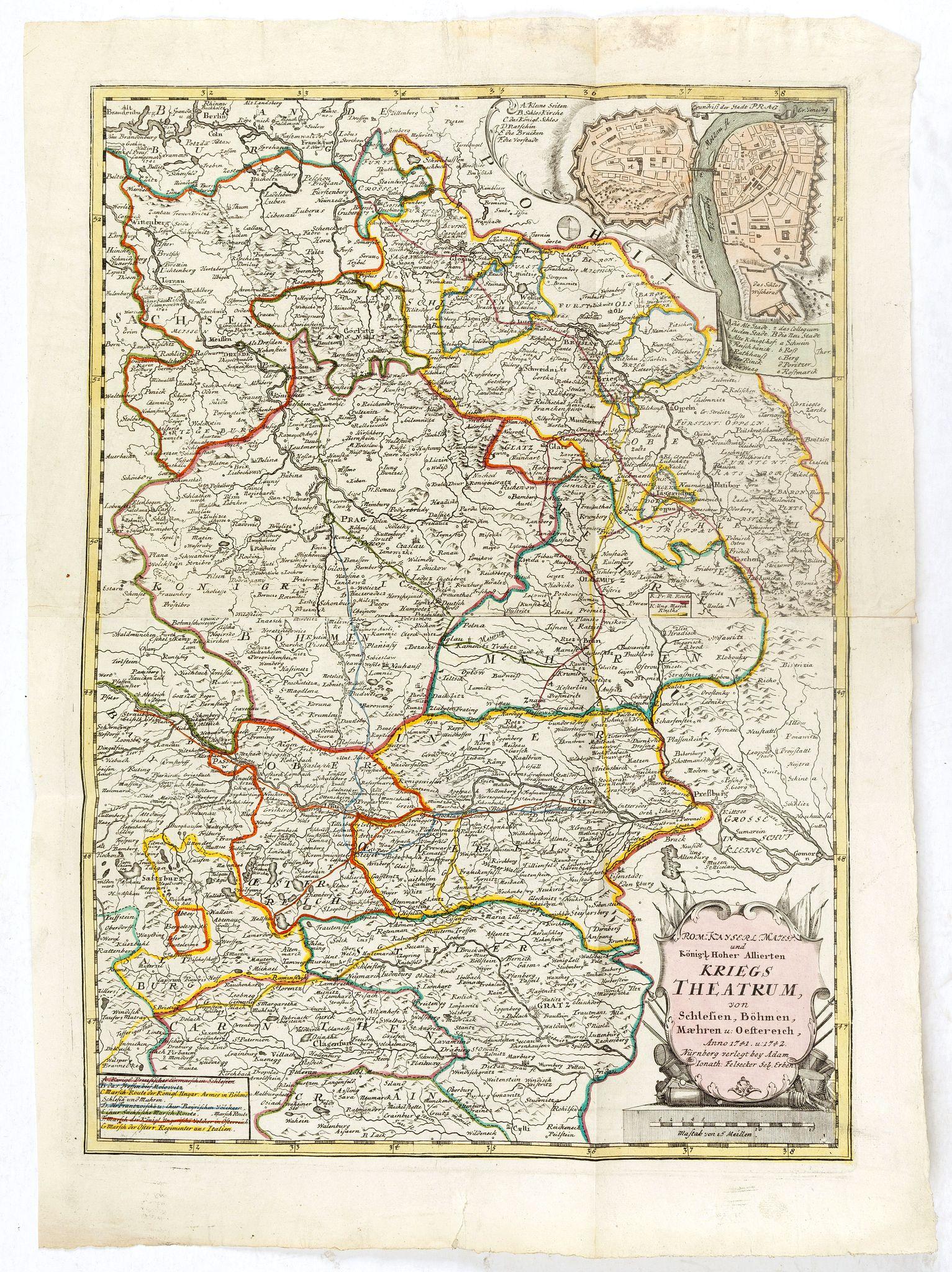 FELSECKER, J. -  Rom: Keyserl. Majest. Königl Hoher Allierten Kriegs Theatrum von Schlesien, Böhmen, Maehren u: Oestereich. . .