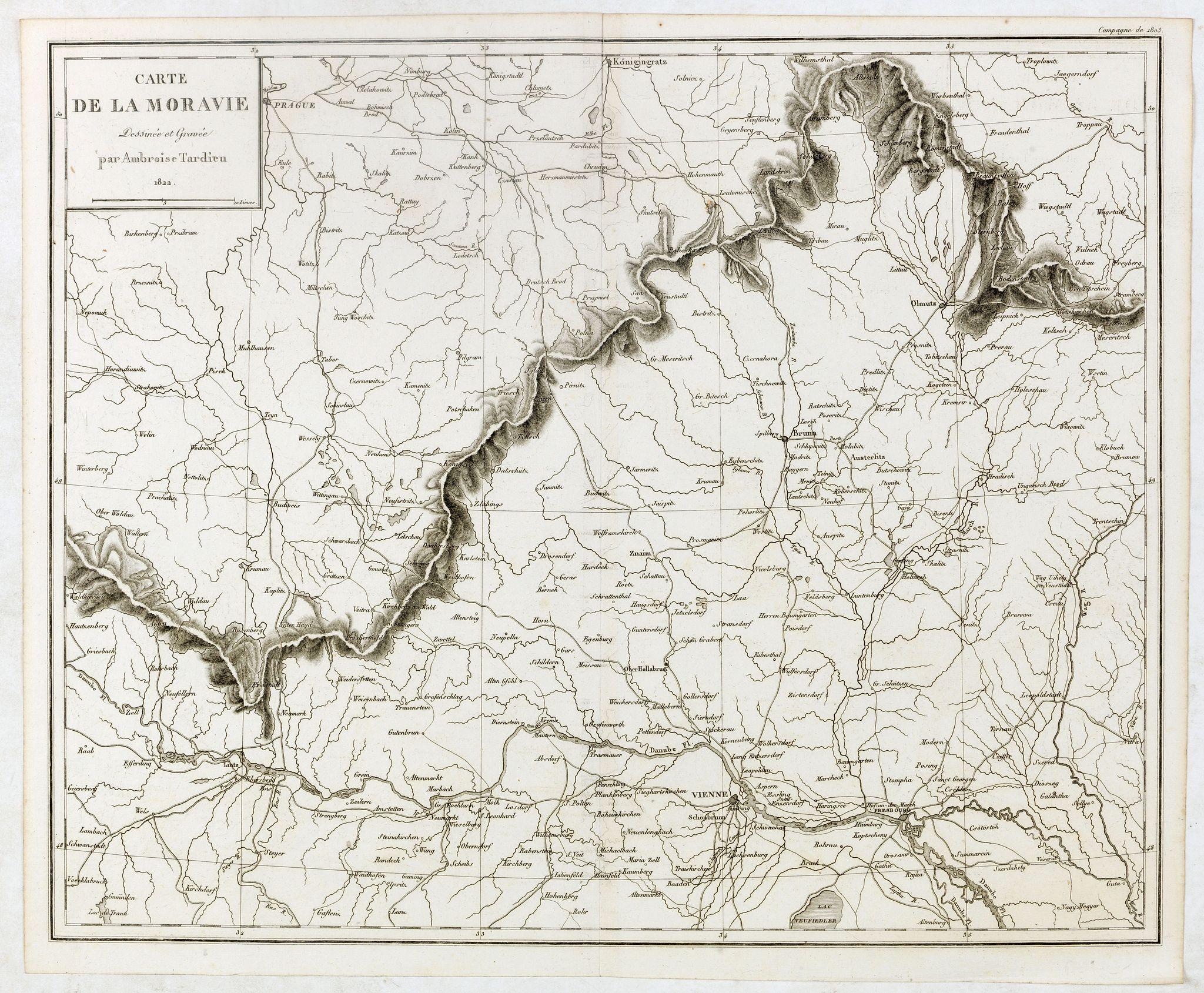 TARDIEU, A. -  Carte de Moravie Dessinée et Gravée par Ambroise Tardieu.