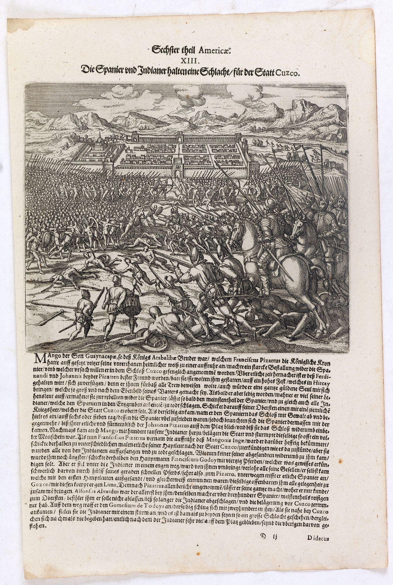 DE BRY, Th. -  Die Spanier und Indianer halten eine Schlacht für der Stadt Cuzco.