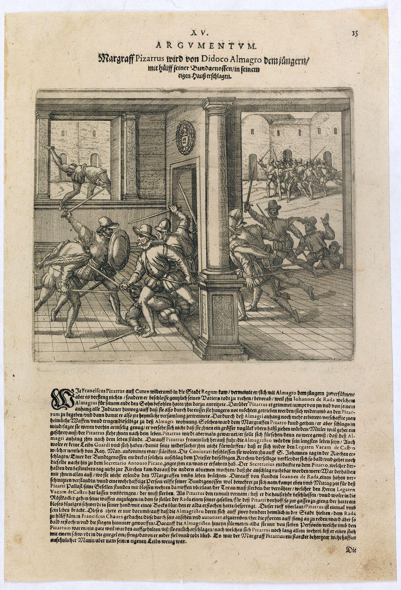DE BRY, Th. -  Margraff Pizarrus wird von Didoco Almagro dem jüngern mit hülff seiner Bundgenossen in . . .