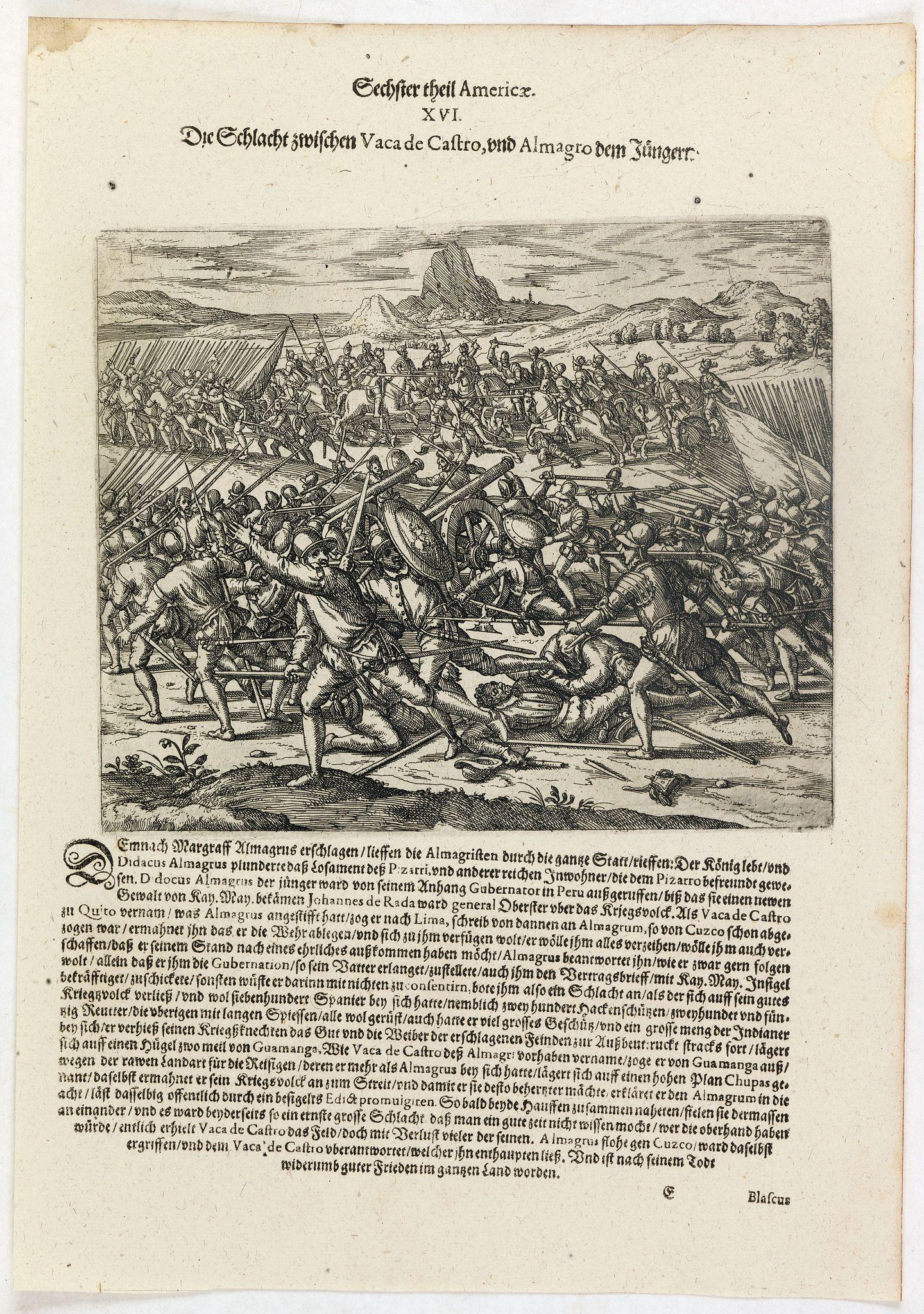 DE BRY, Th. -  Die Schlacht zwischen Vaca de Castro, und Almagro dem jüngern.