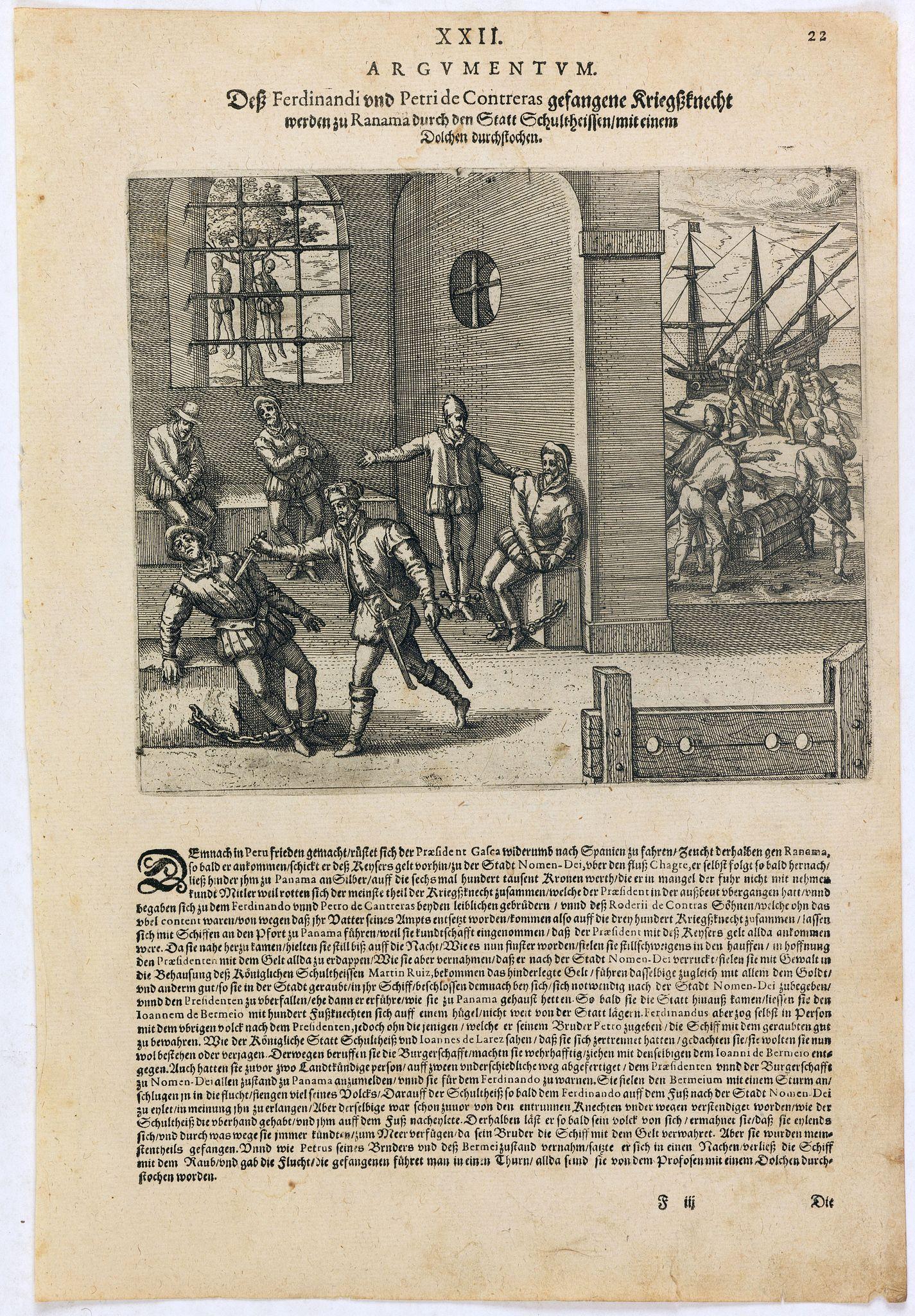 DE BRY, Th. -  Dess Ferdinandi und Petri de Contreras, gefangene Kriegssknecht werden zu Ranama [sic] durch den Statt Schultheissen mit einem Dolchen durchstochen.