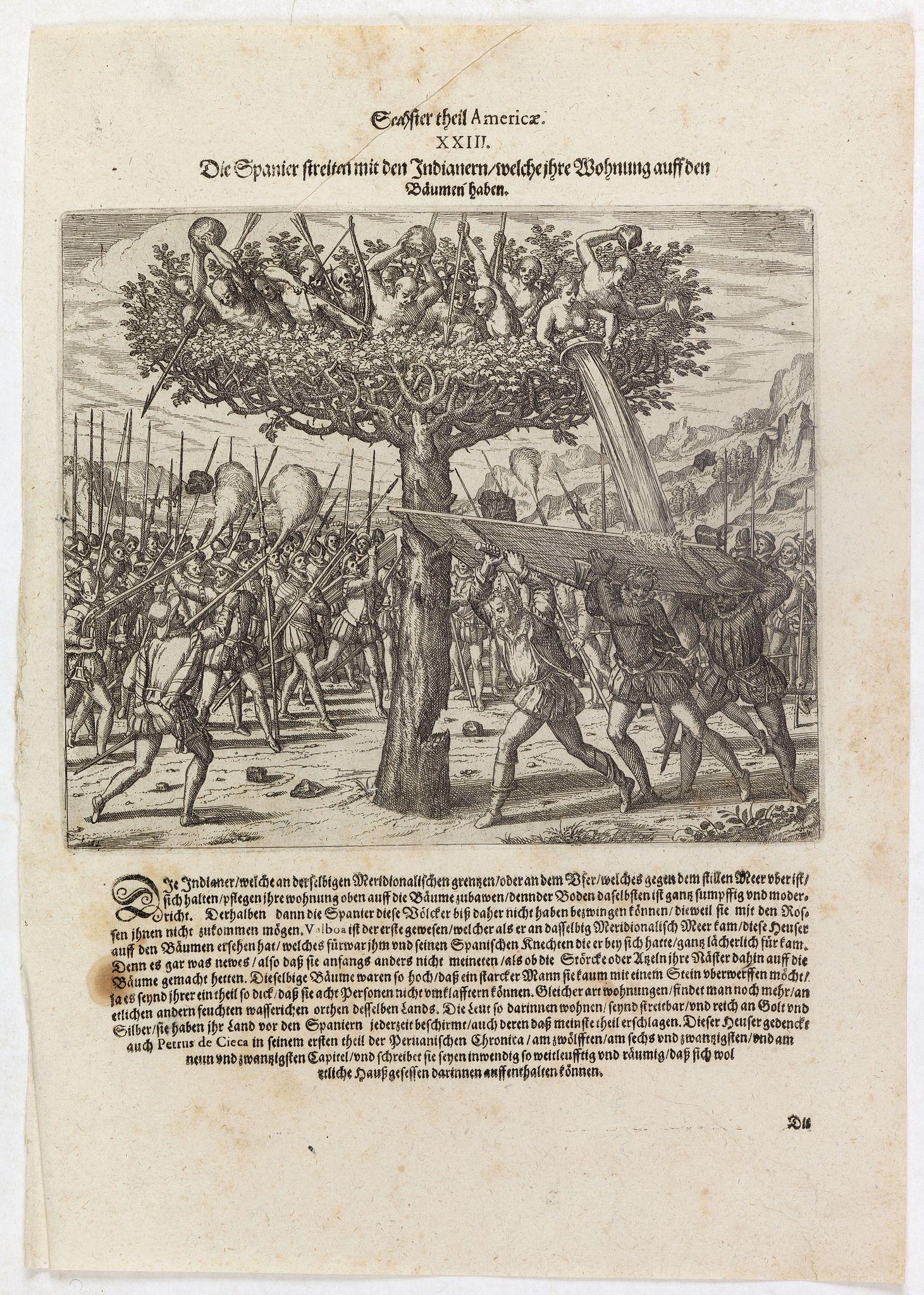 DE BRY, Th. -  Die Spanier streiten mit den Indianern welche ihre Wohnung auff den Bäumen haben.