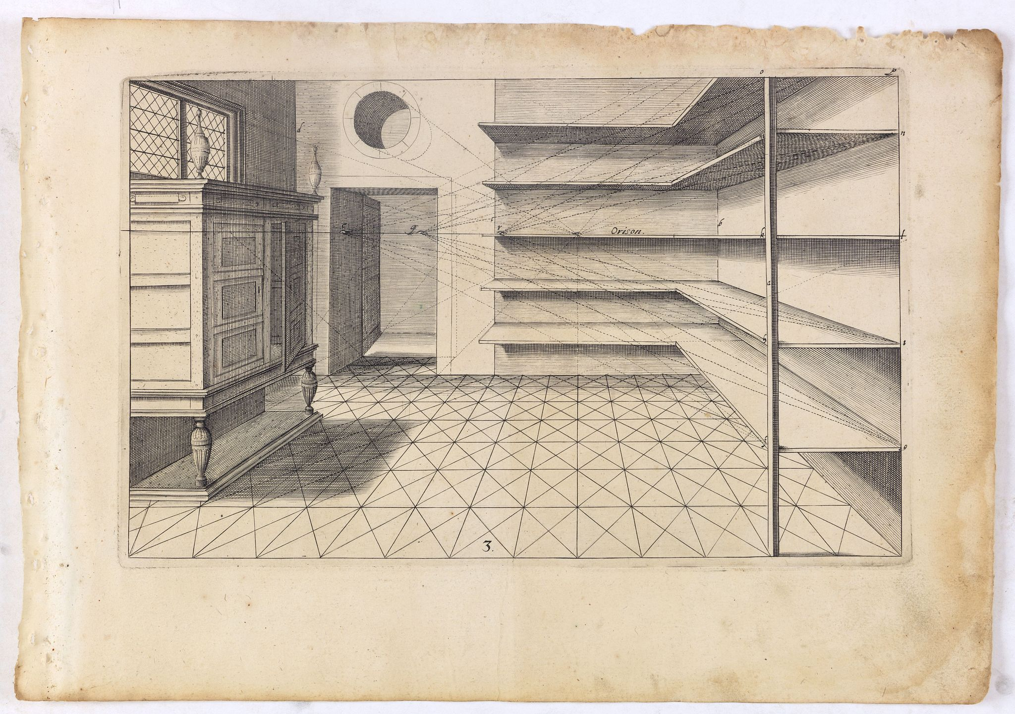 VREDEMAN DE VRIES, J. / HONDIUS, H. -  Perspective print by Vredeman de Vries. 3