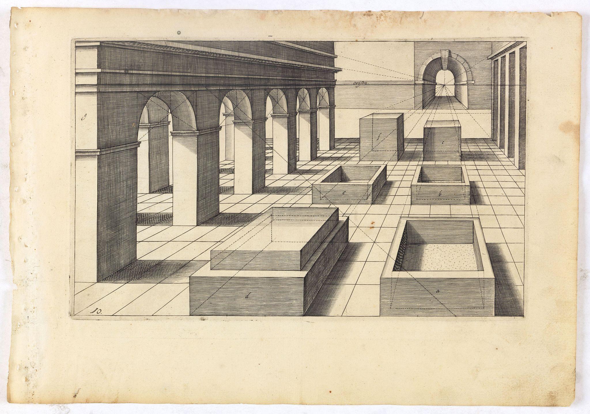 VREDEMAN DE VRIES, J. / HONDIUS, H. -  Perspective print by Vredeman de Vries. 10
