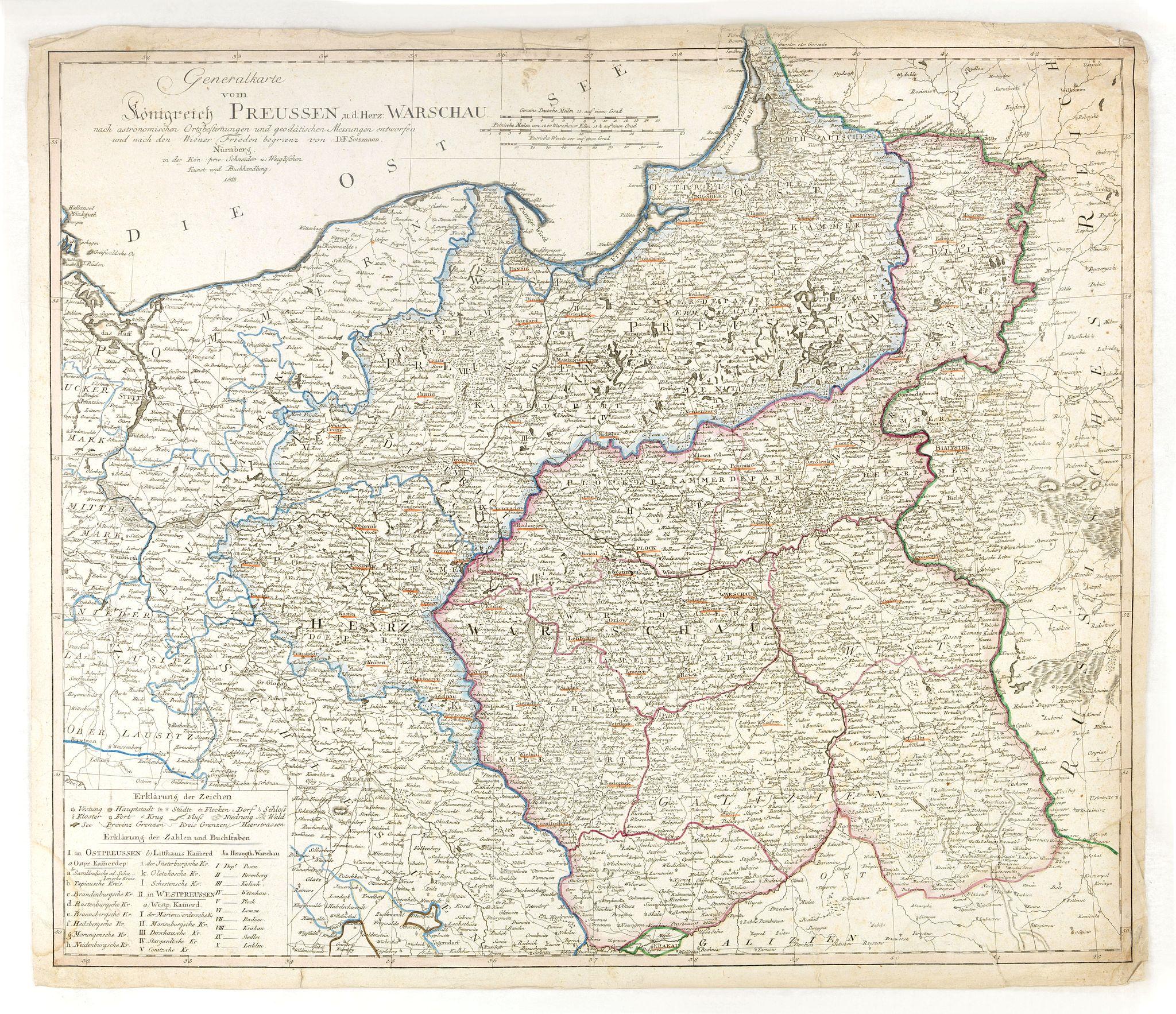 SOTZMANN, D. F. -  Generalkarte vom Königreich Preussen u. d. Herz[ogtum] Warschau nach astronomischen Ortsbestim[m]ungen und geodätischen Messungen. . .