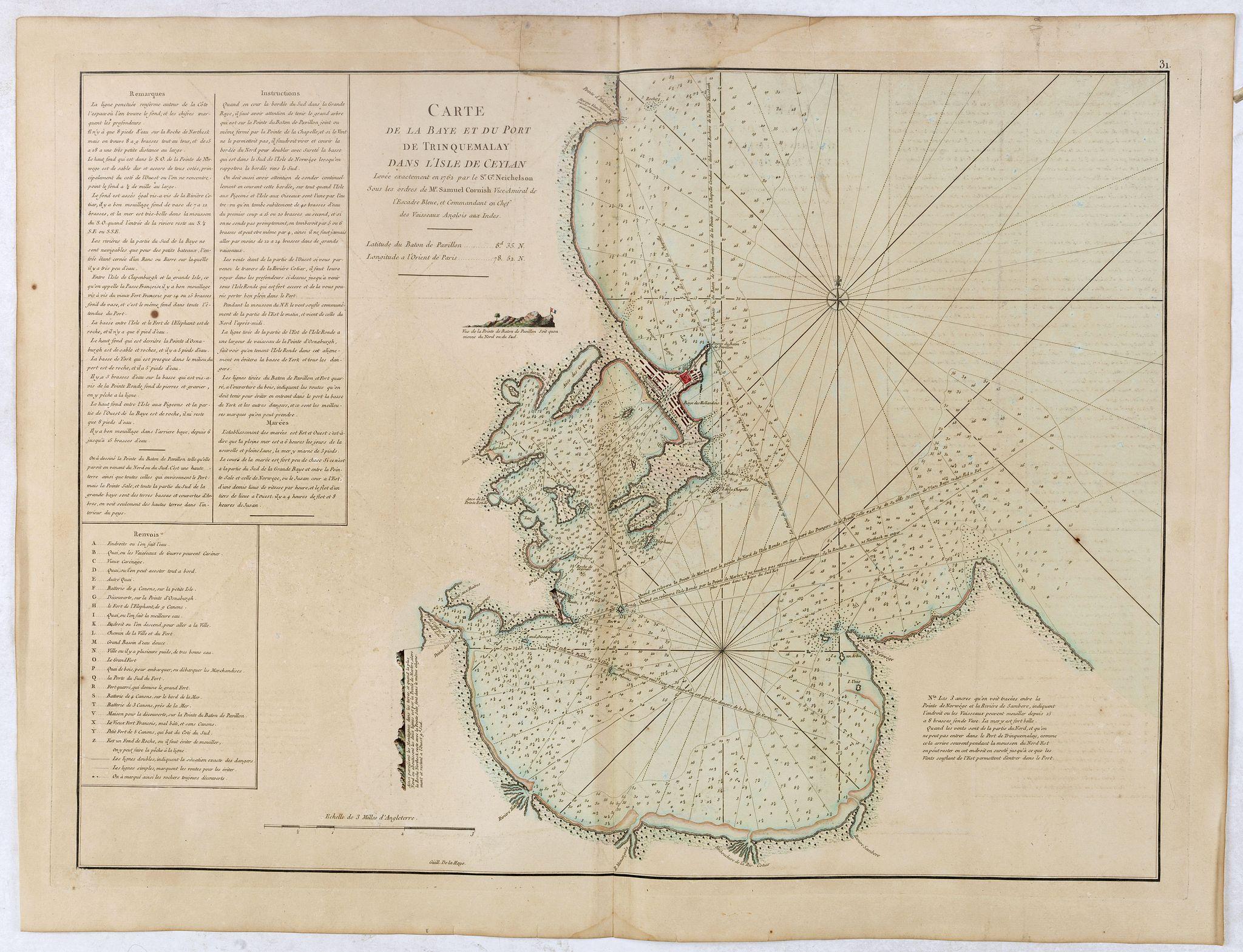 D'APRES DE MANNEVILLETTE. -  Carte de la Baye et du Port de Trinquemalay Dans L'Isle de Ceylan.