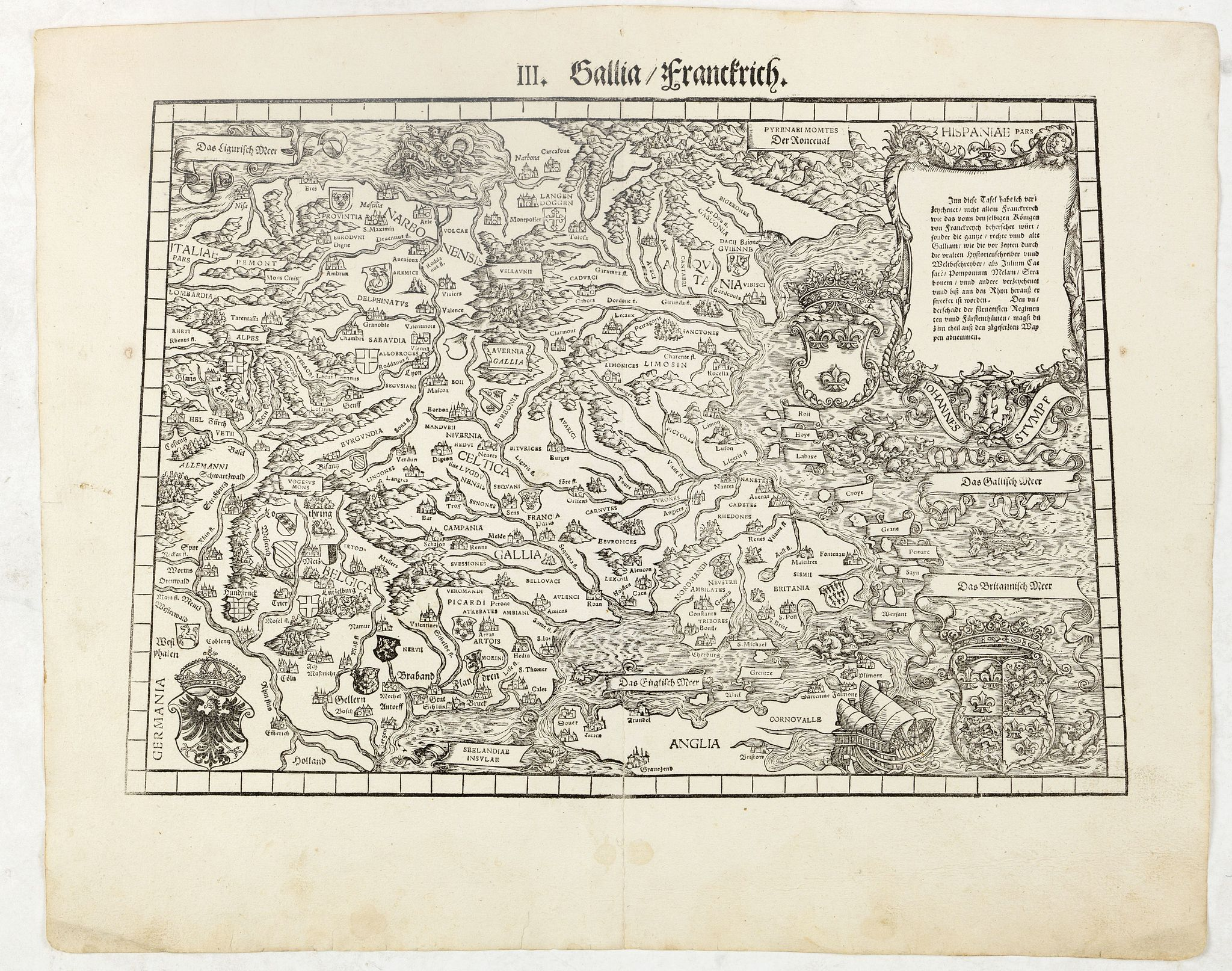 STUMPF, J.,  III. Gallia. Franckrych., antique map, old maps