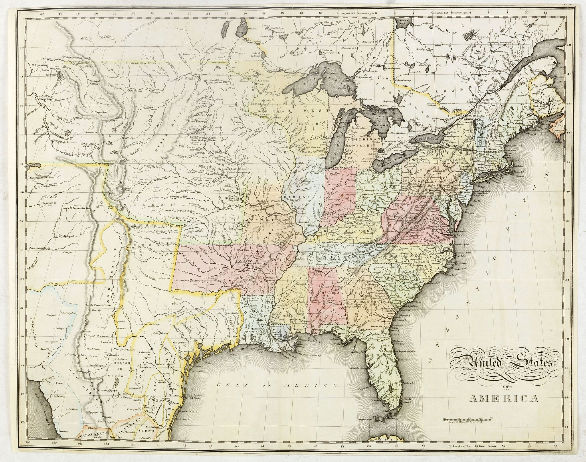 MELISH, J.,  United States of America., antique map, old maps
