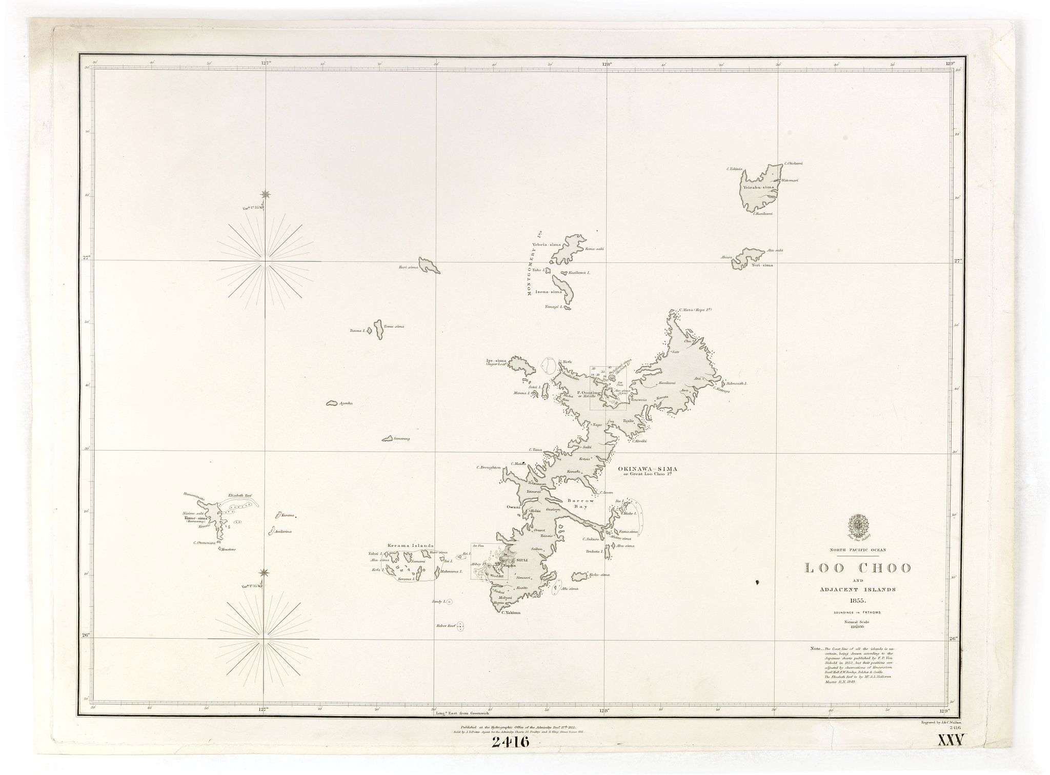 HYDROGRAPHIC OFFICE -  North Pacific Ocean LOO CHOO and adjacent Islands 1855.